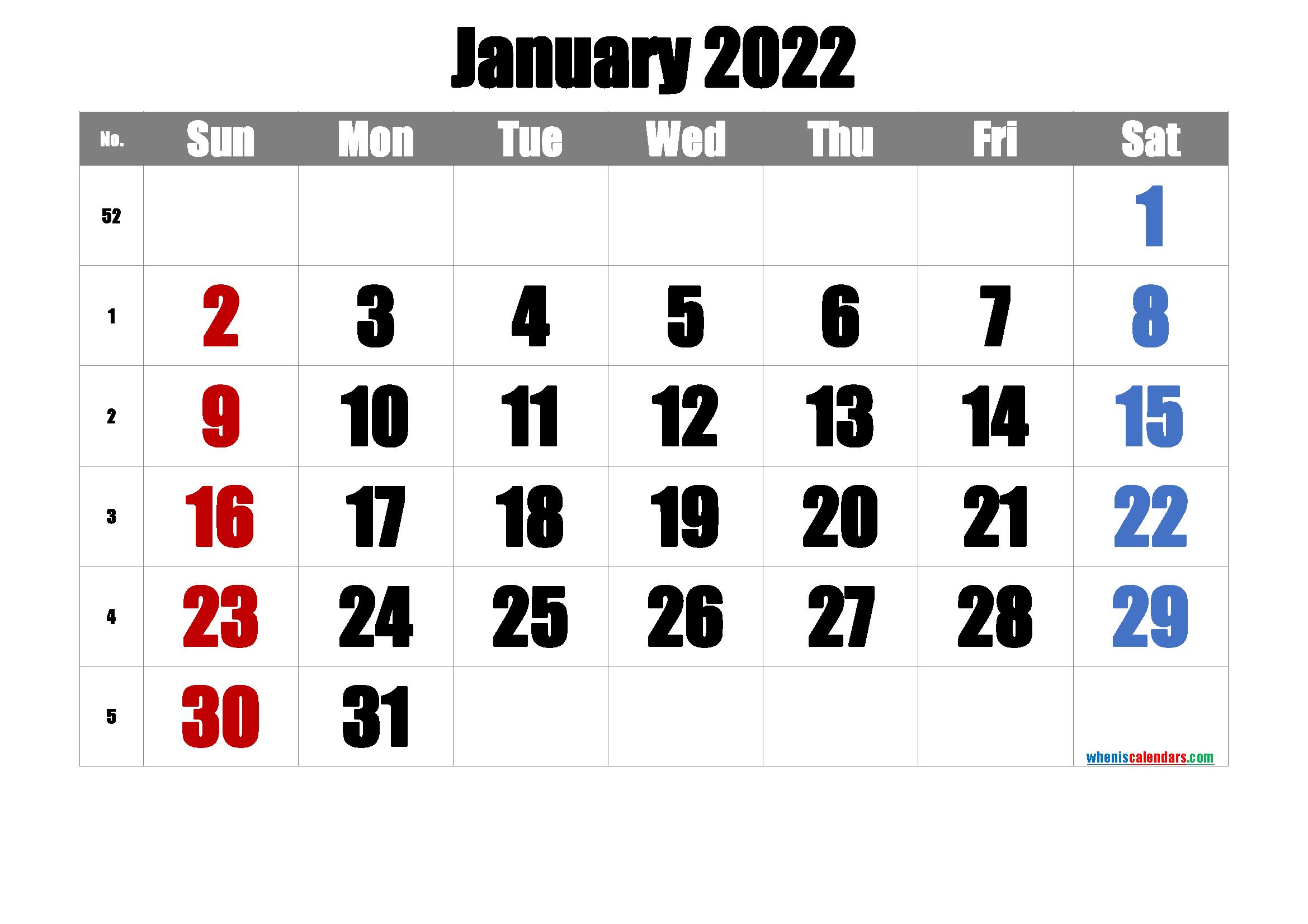 Printable January 2022 Calendar