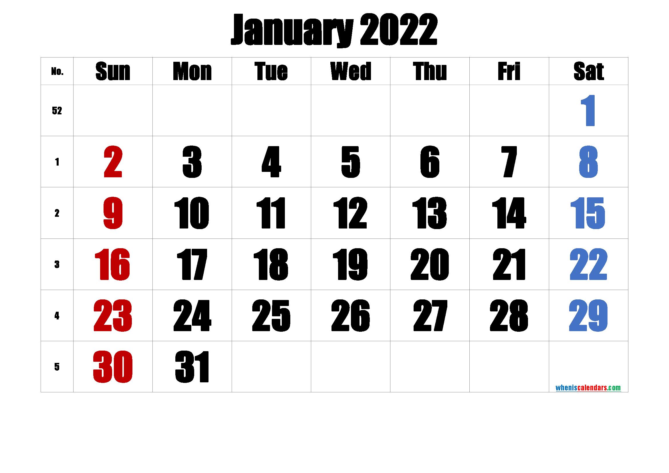Printable Calendar January 2022