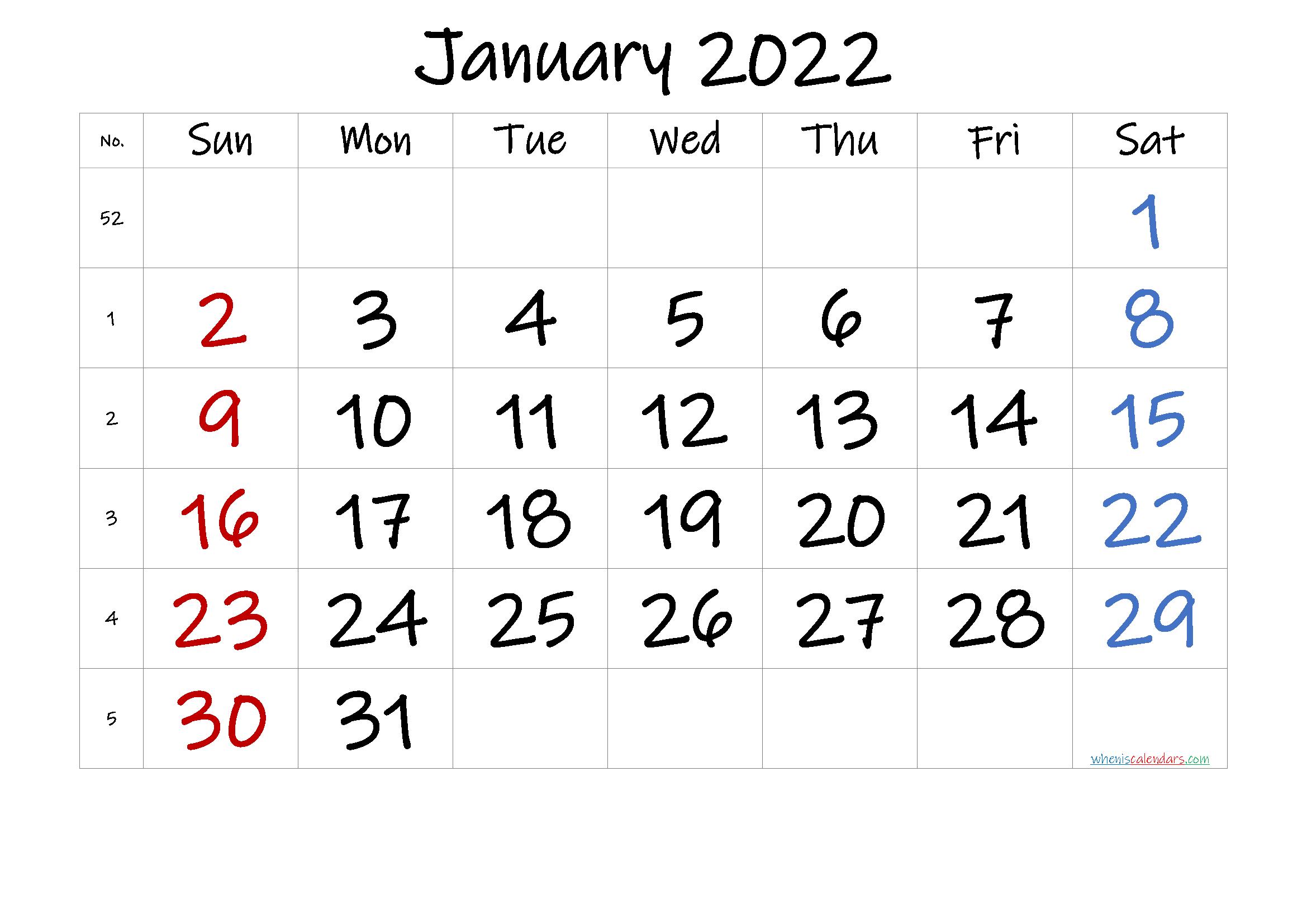 Free January 2022 Calendar