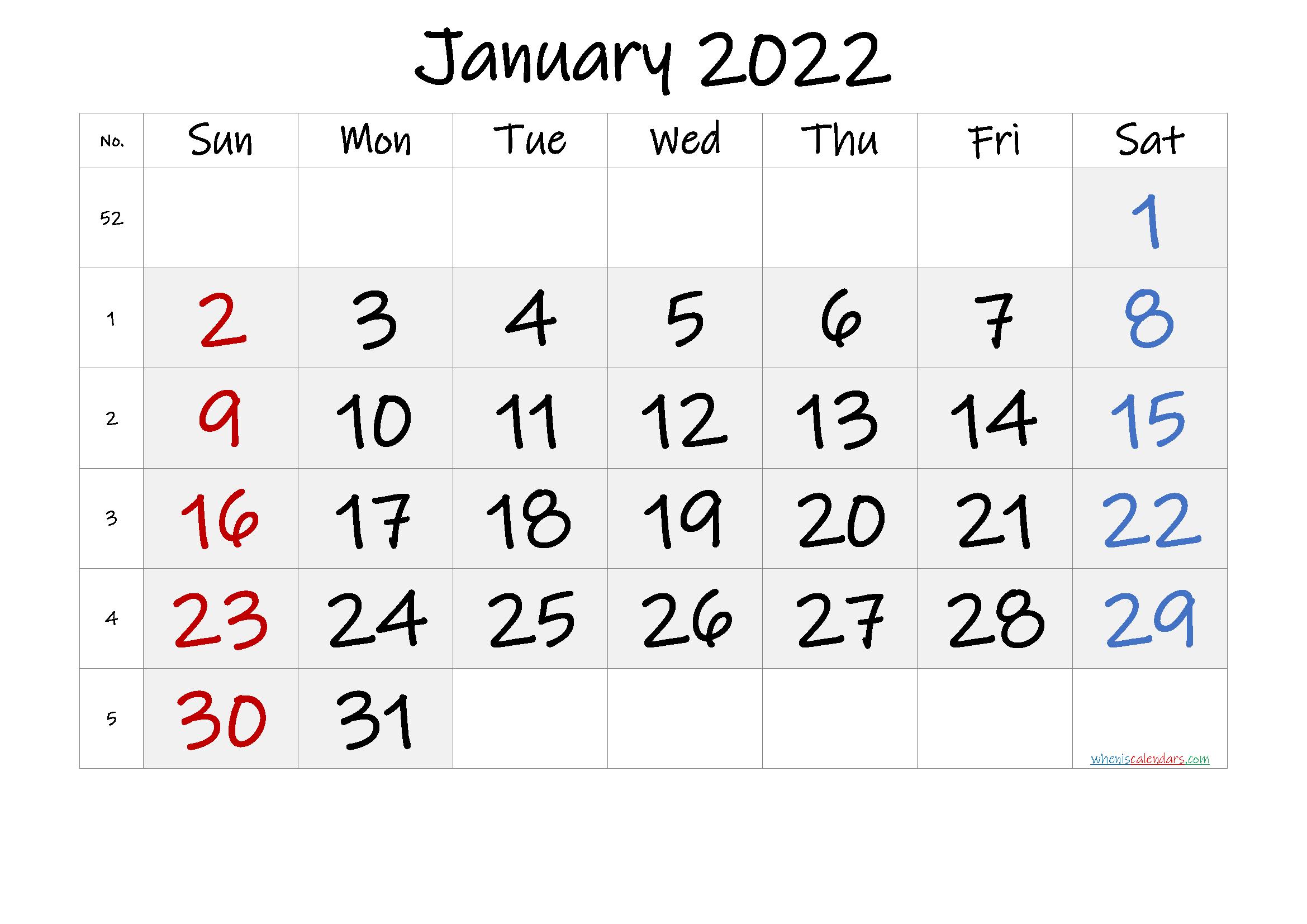 Free Printable January 2022 Calendar with Week Numbers