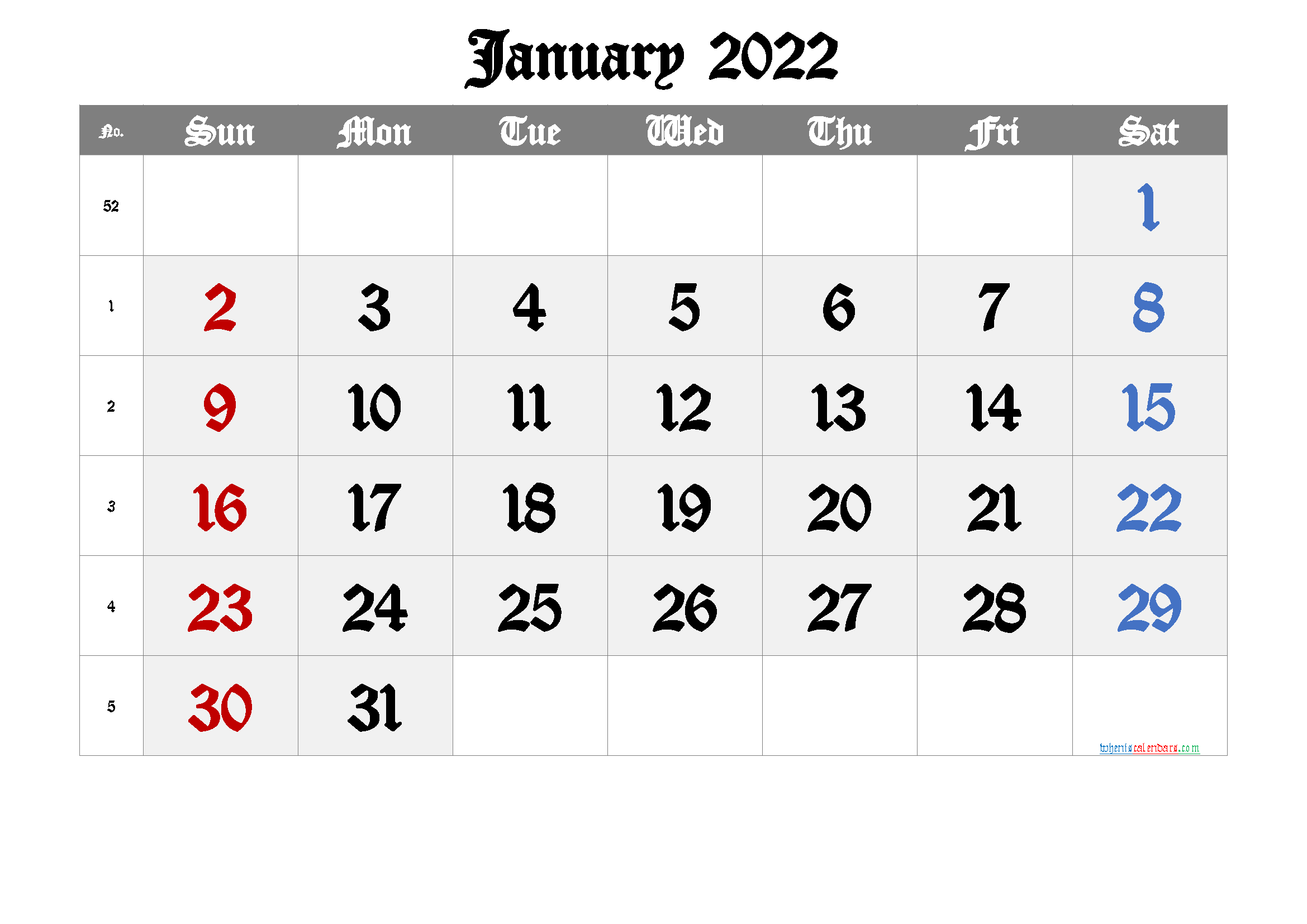 Free January 2022 Calendar with Week Numbers