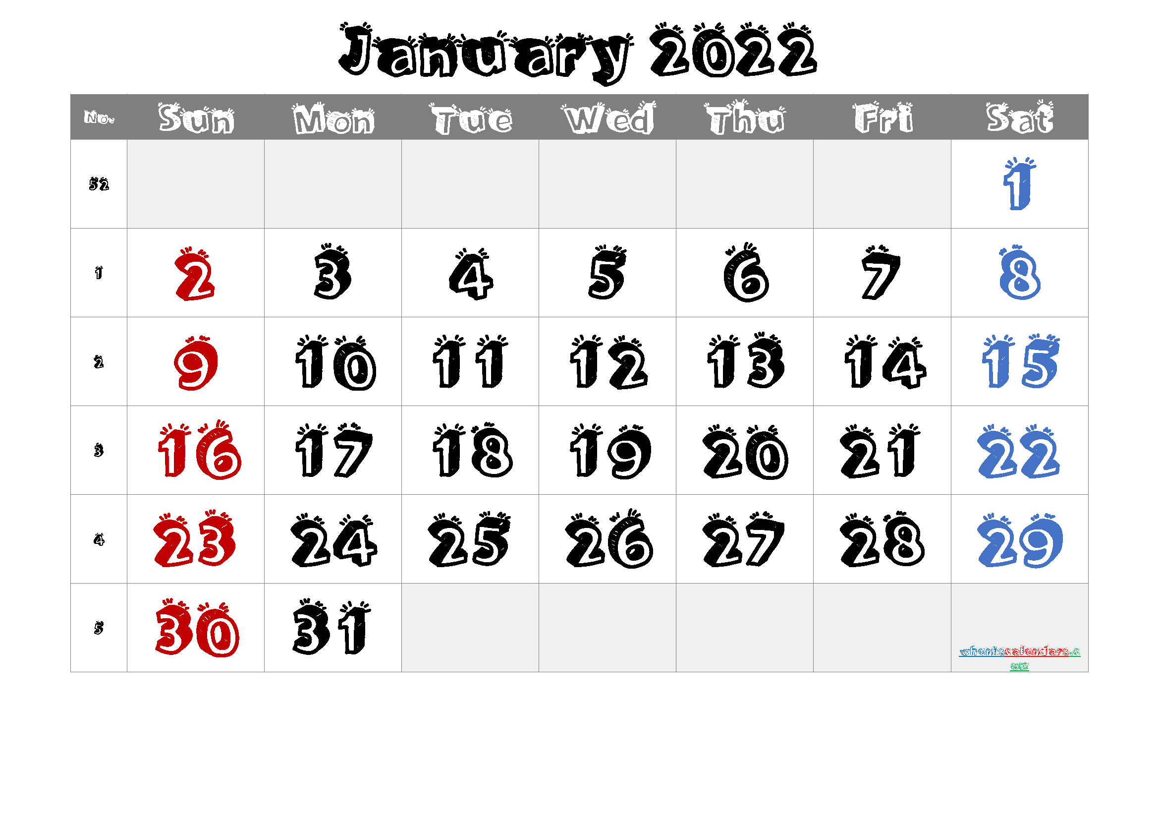 January 2022 Printable Calendar