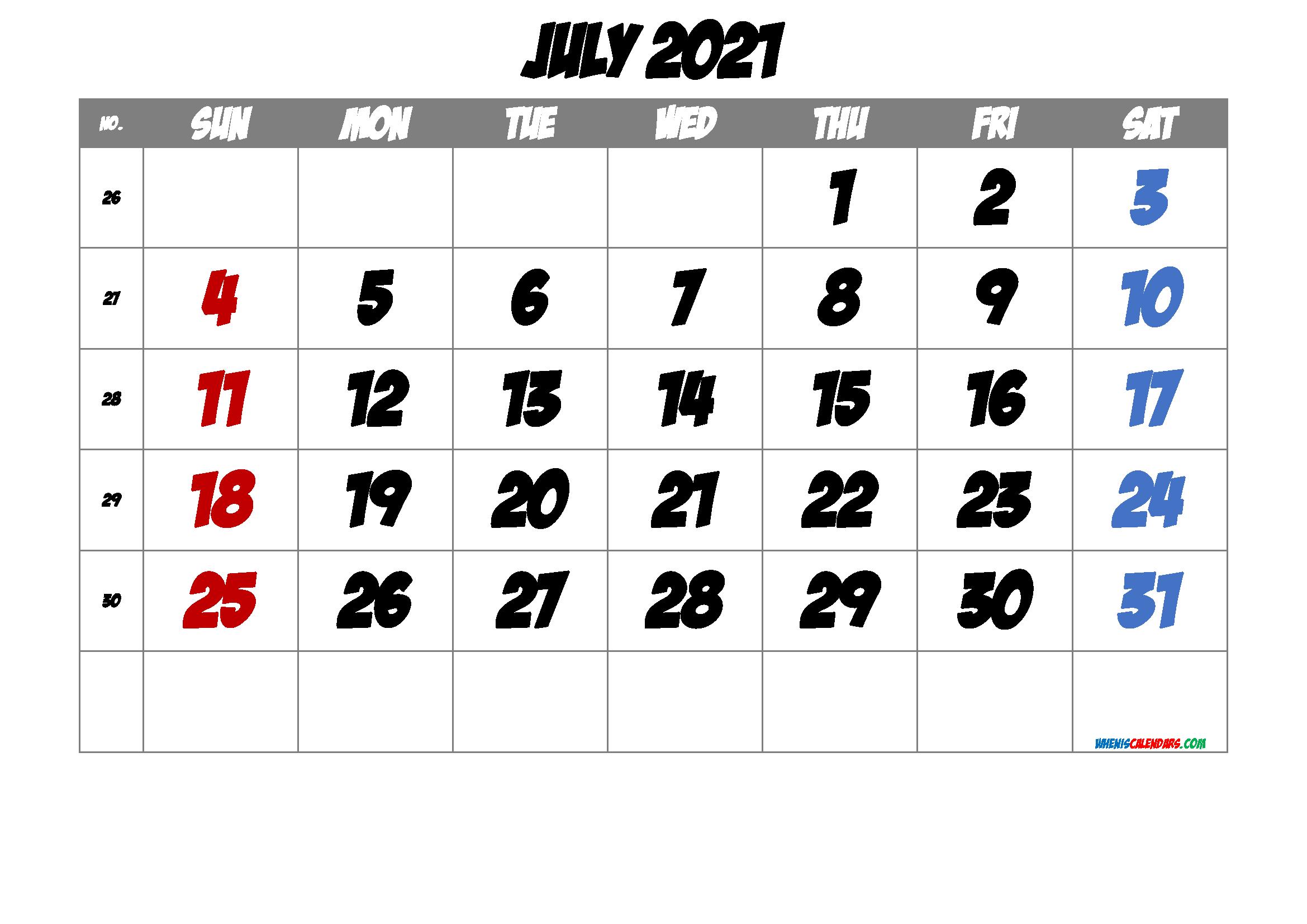 Free Printable Calendar 2021 July Free Premium | Free ...