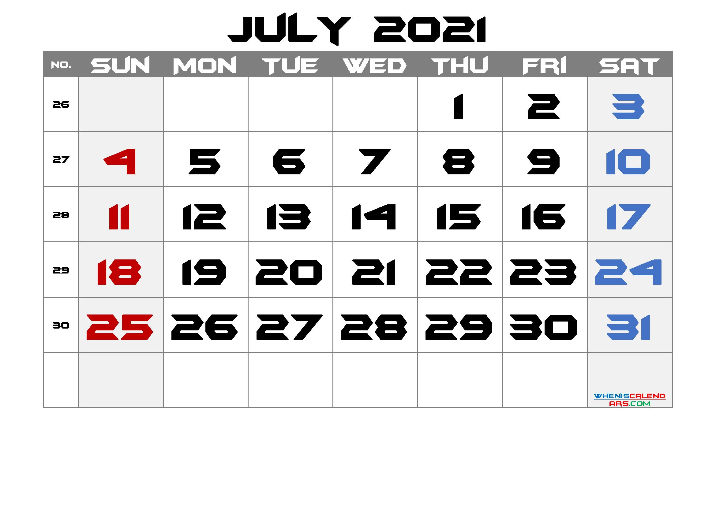 Printable Calendar 2021 July