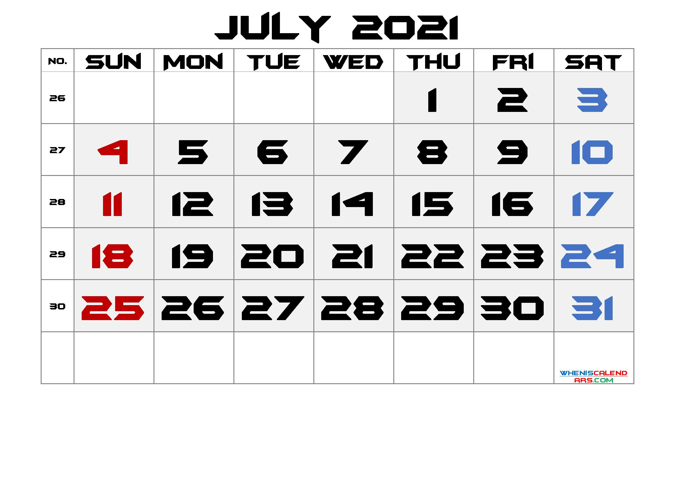 Printable July 2021 Calendar with Week Numbers