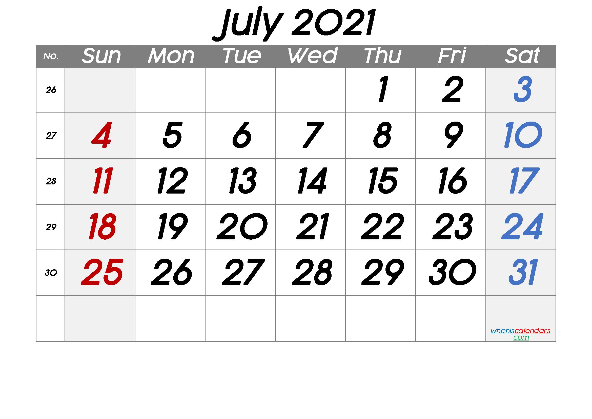 Free July 2021 Calendar with Week Numbers