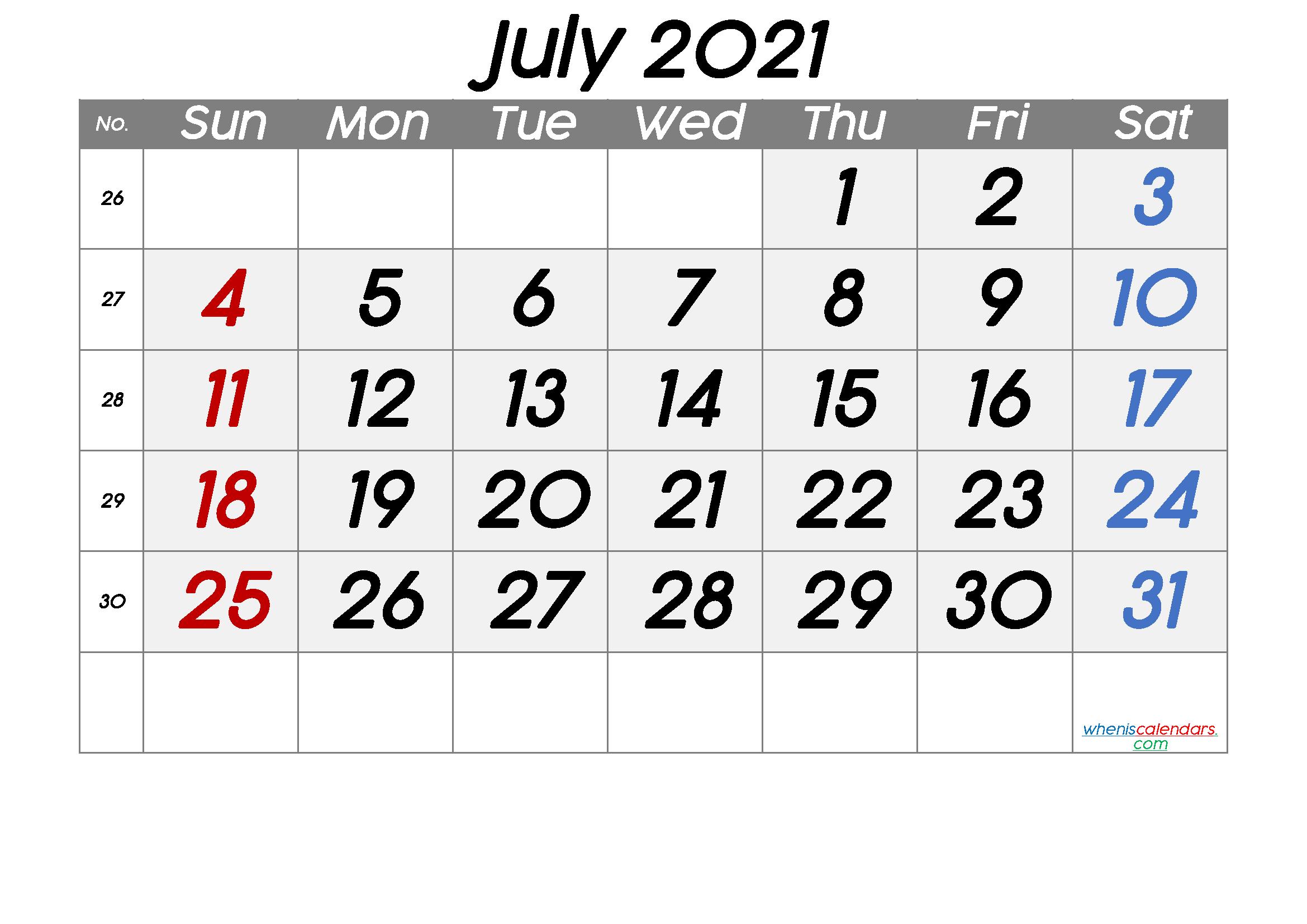 Free Printable Calendar 2021 July