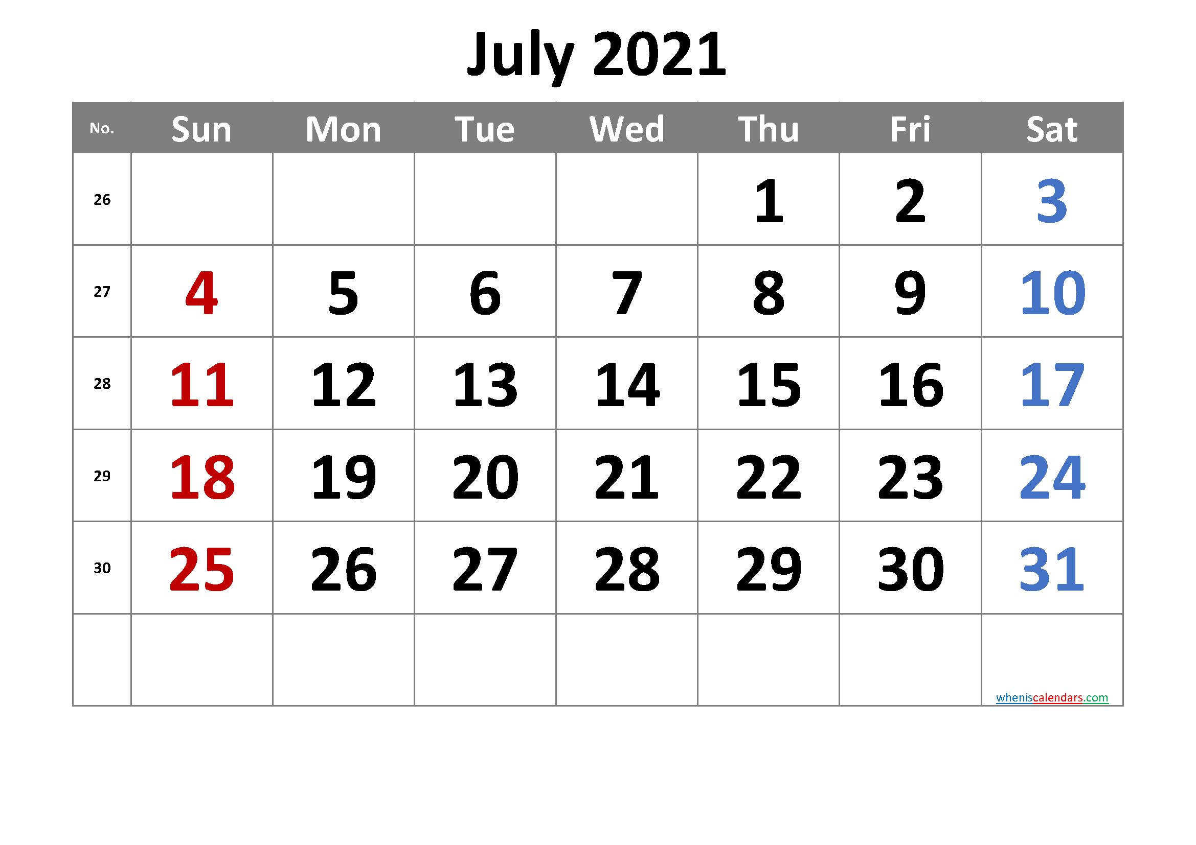 2021 July Free Printable Calendar