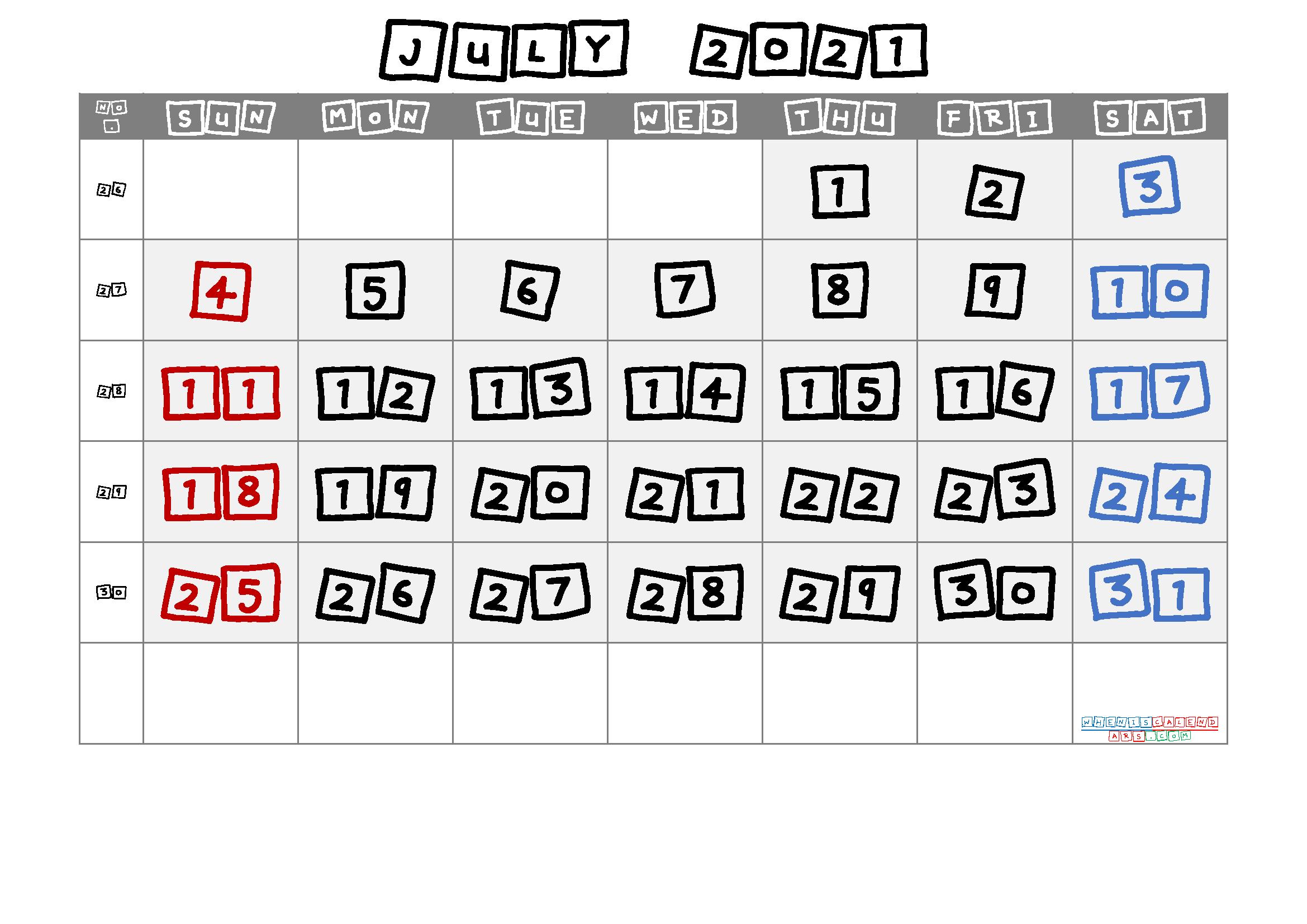 July 2021 Printable Calendar with Week Numbers