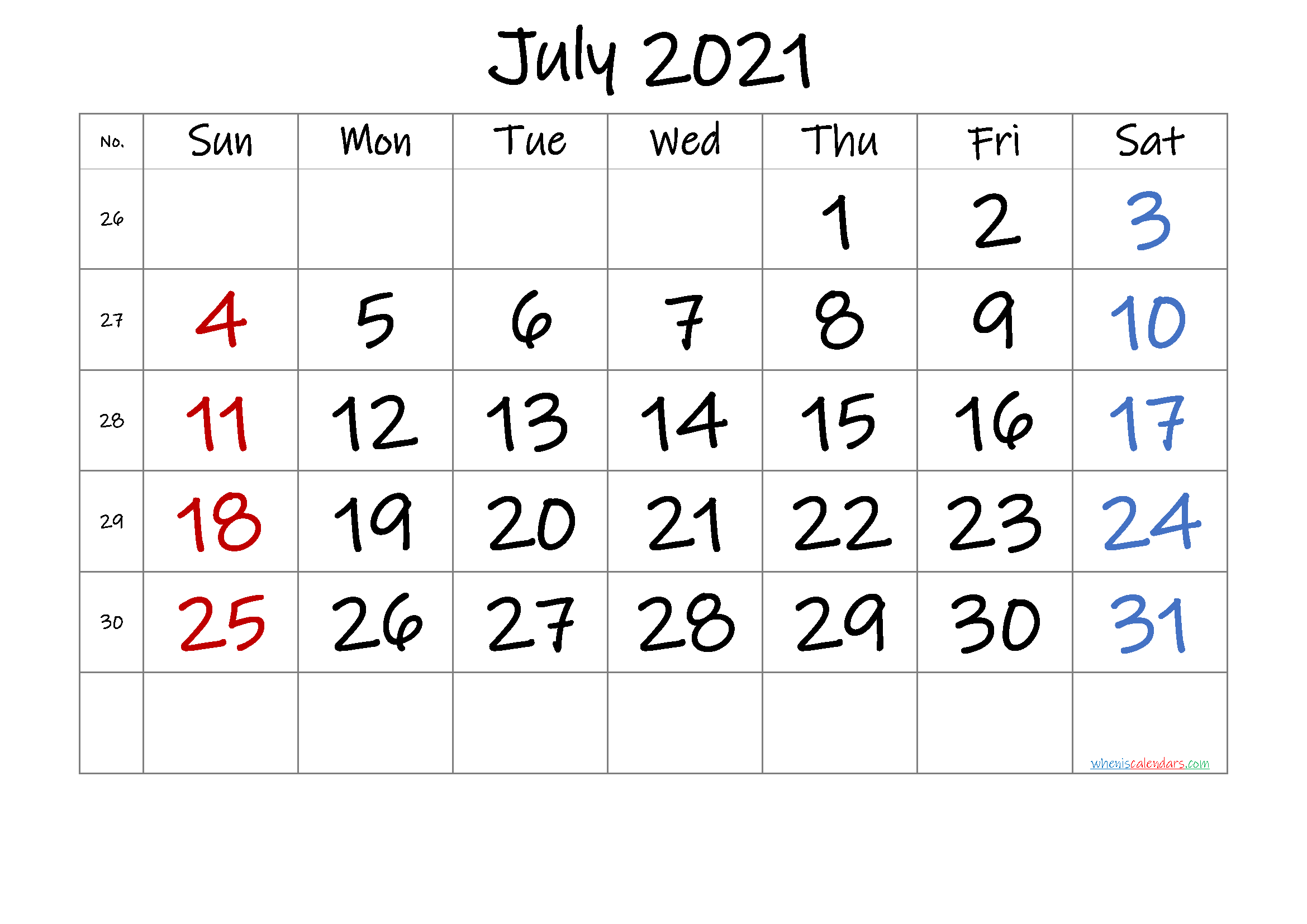 Free July 2021 Calendar with Week Numbers
