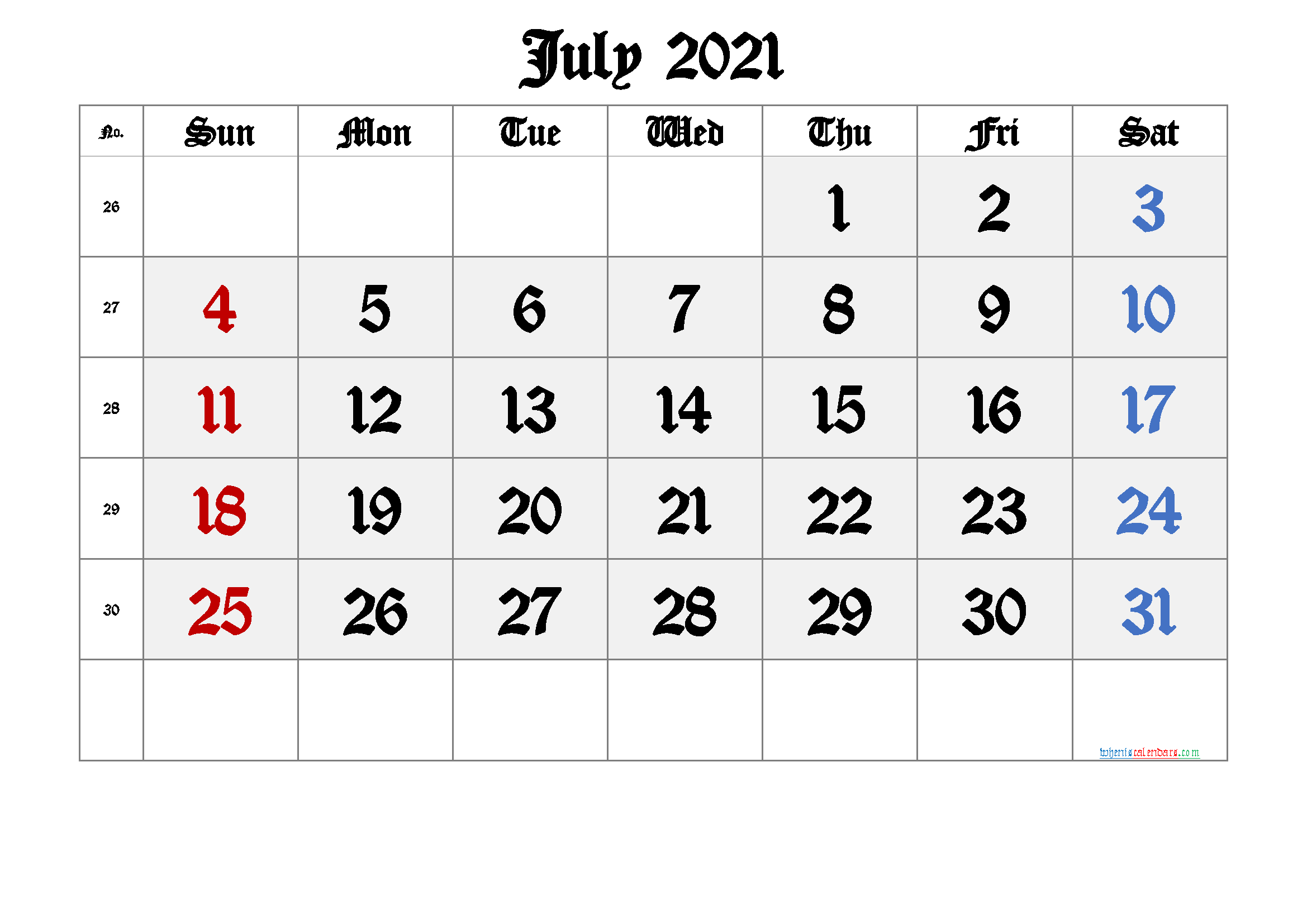 Printable July 2021 Calendar with Week Numbers