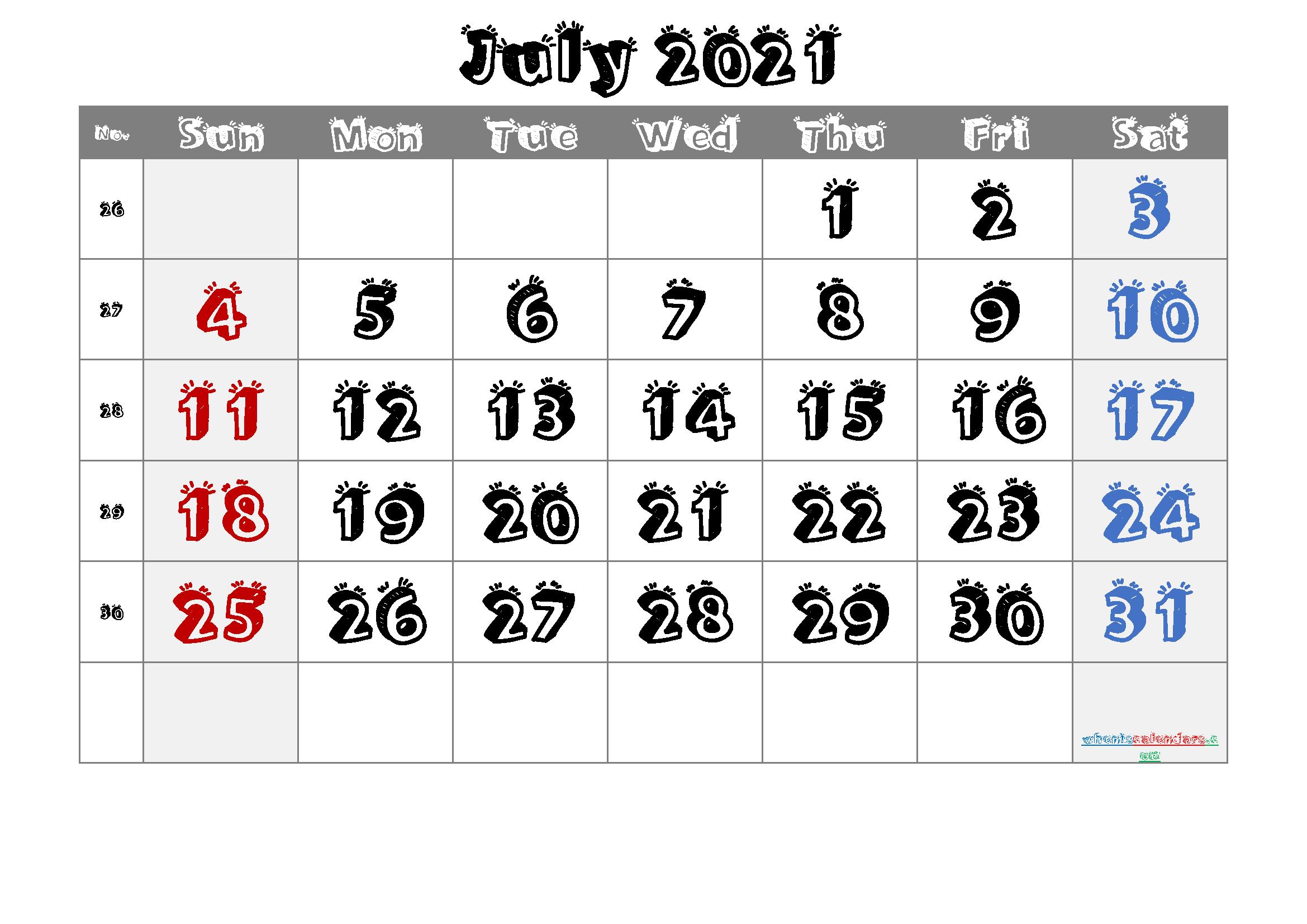 Printable Calendar July 2021
