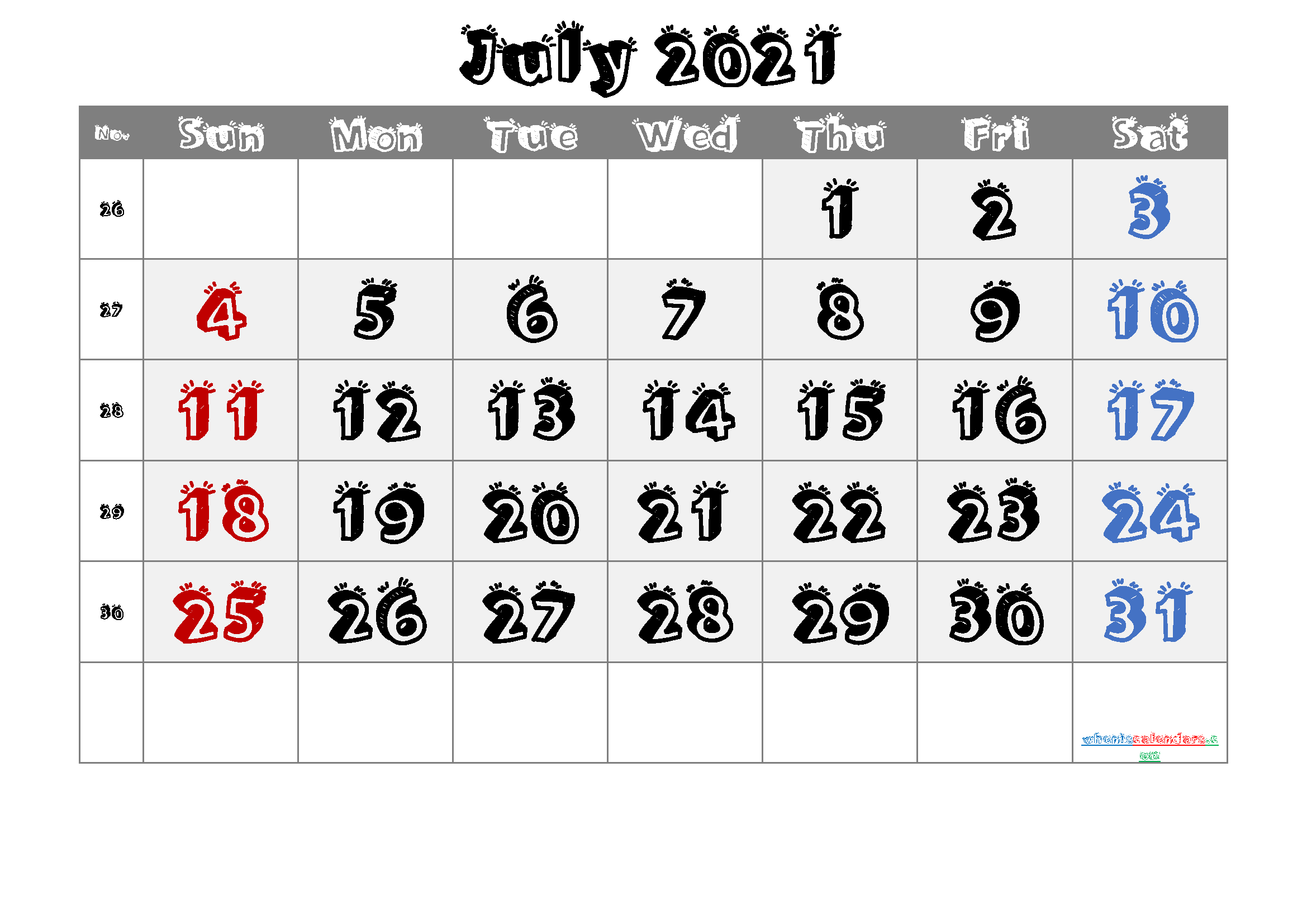 July 2021 Printable Calendar with Week Numbers