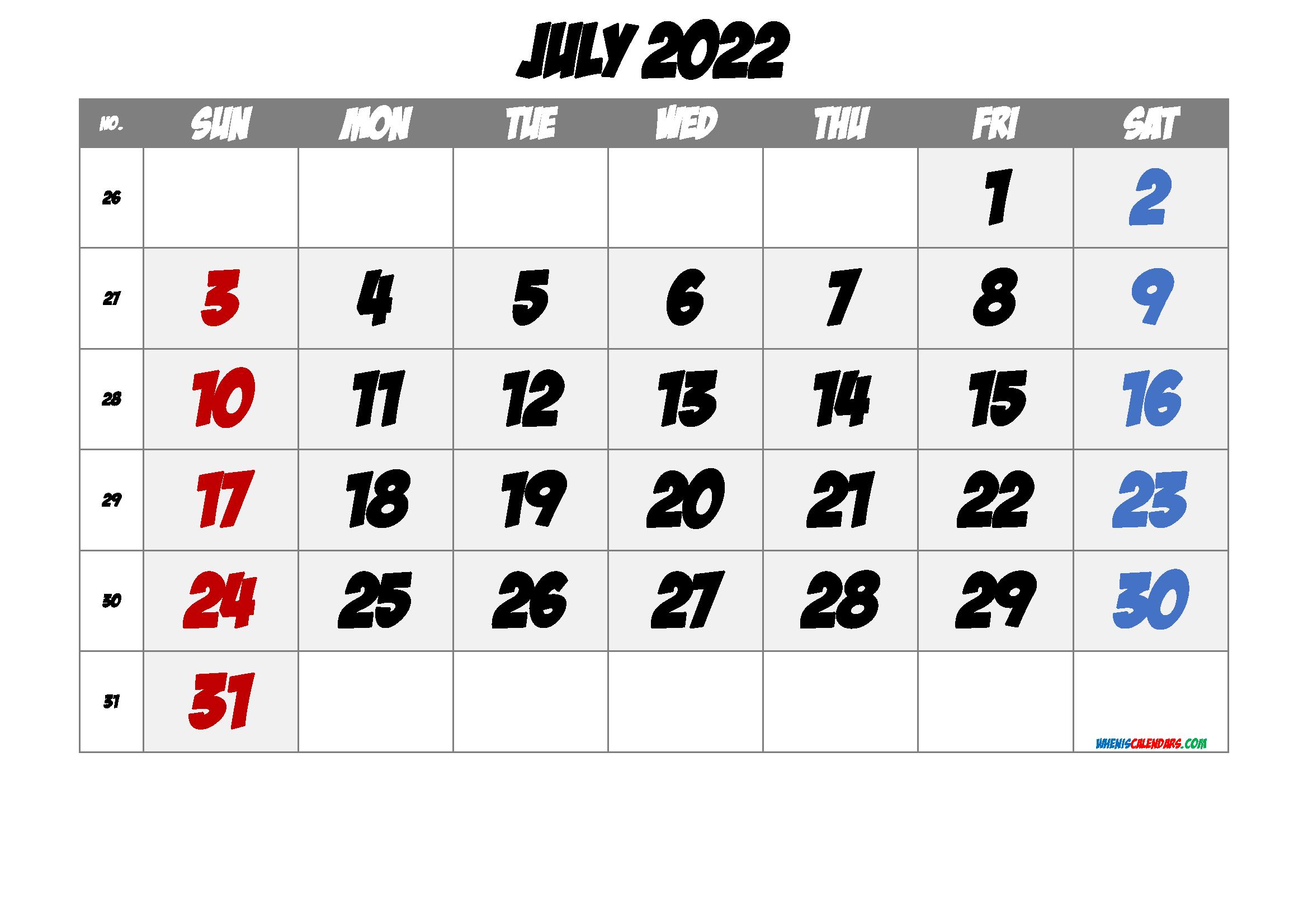 Printable Calendar July 2022