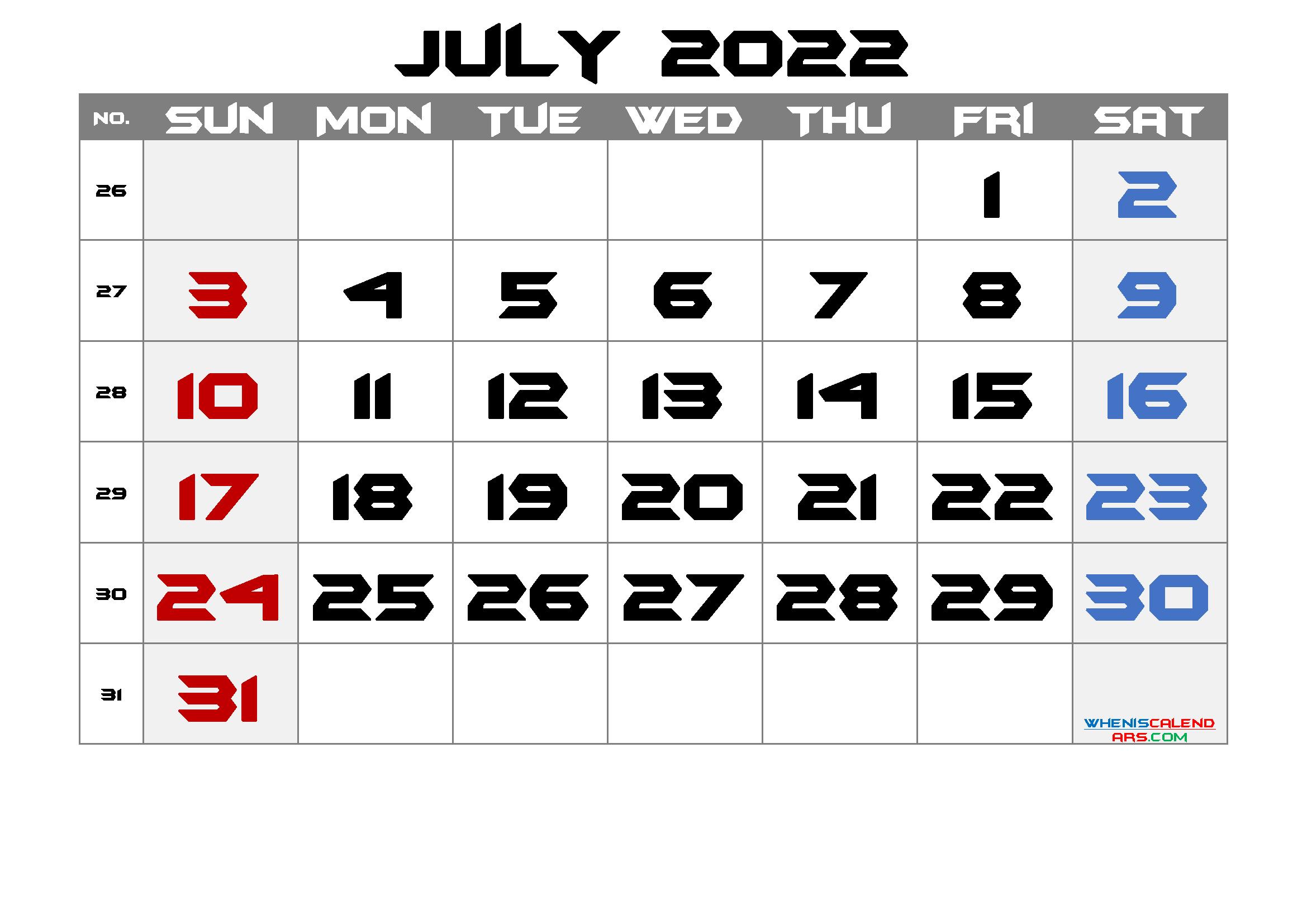 Free Printable Calendar 2022 July