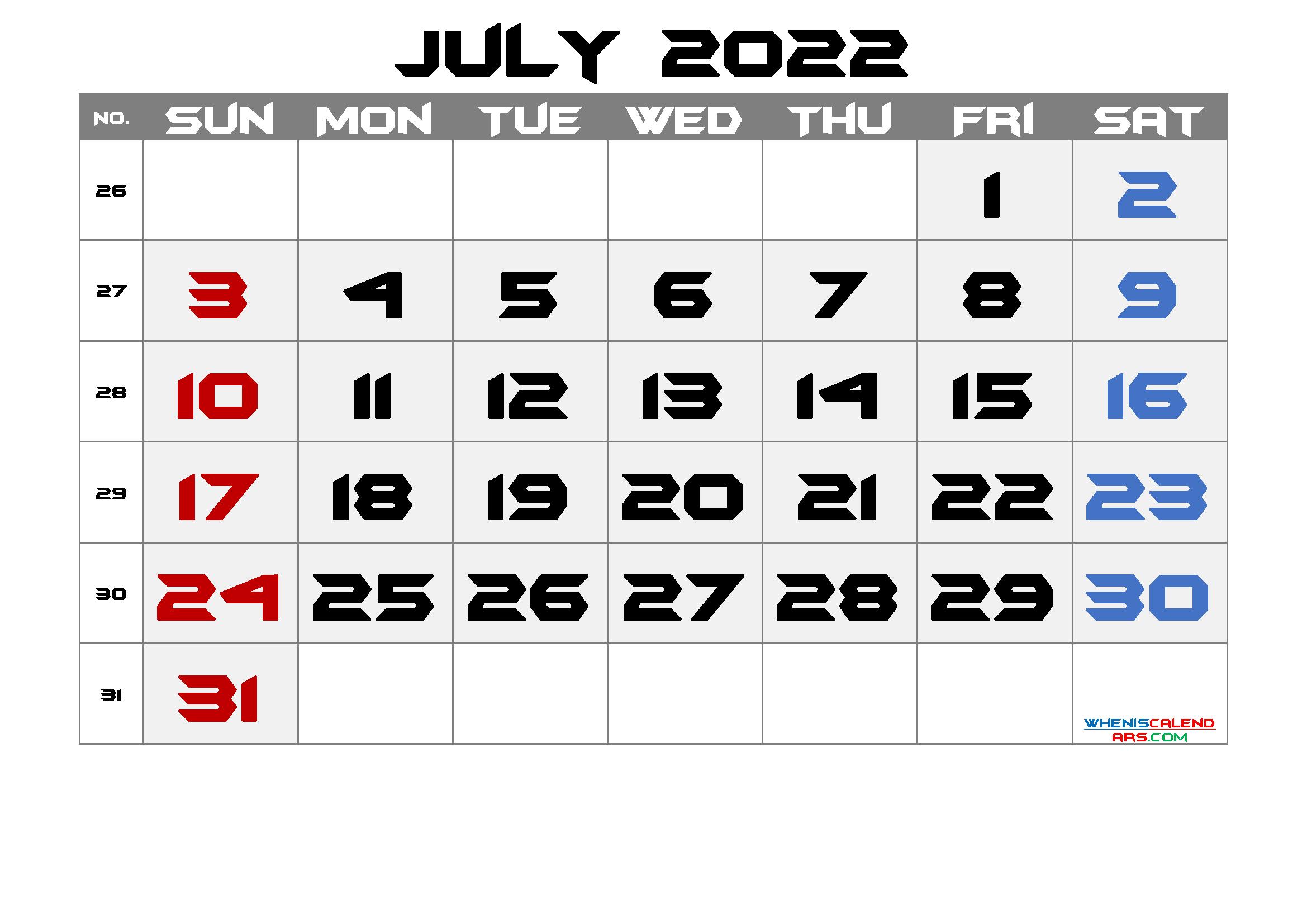 Free July 2022 Calendar with Week Numbers