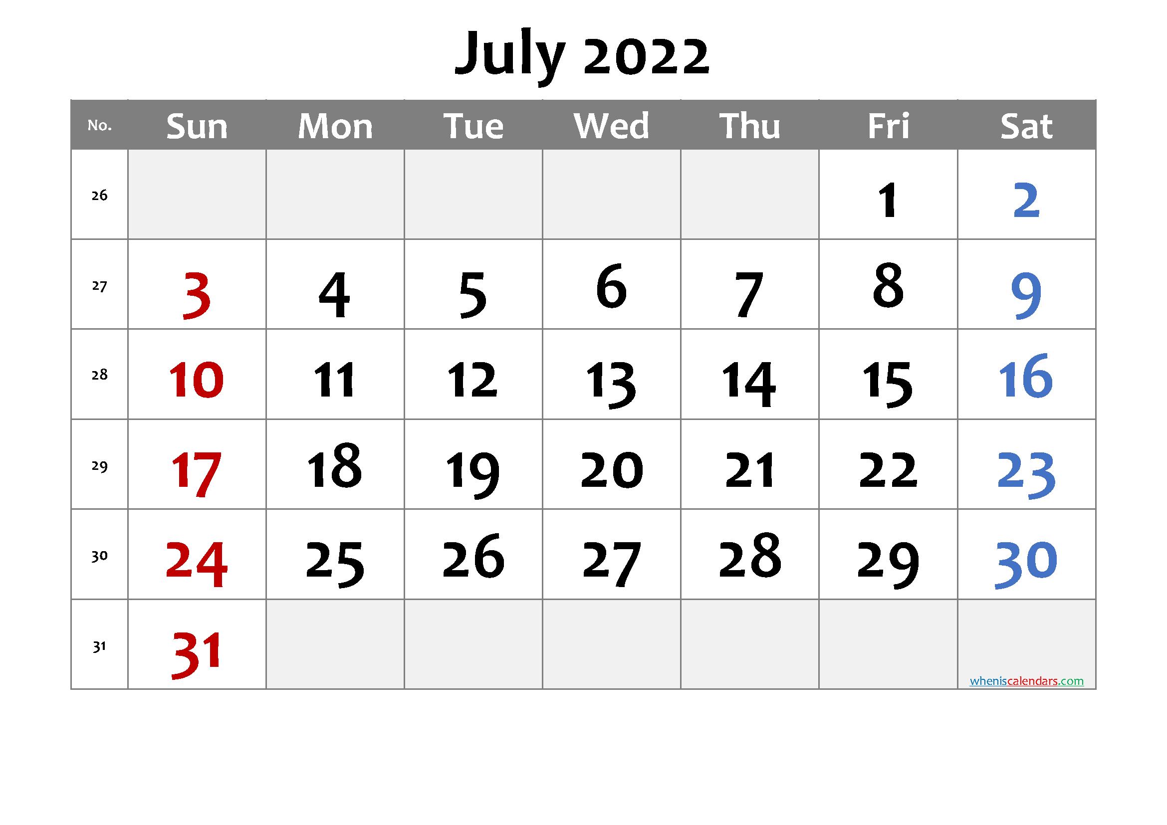 July 2022 Printable Calendar