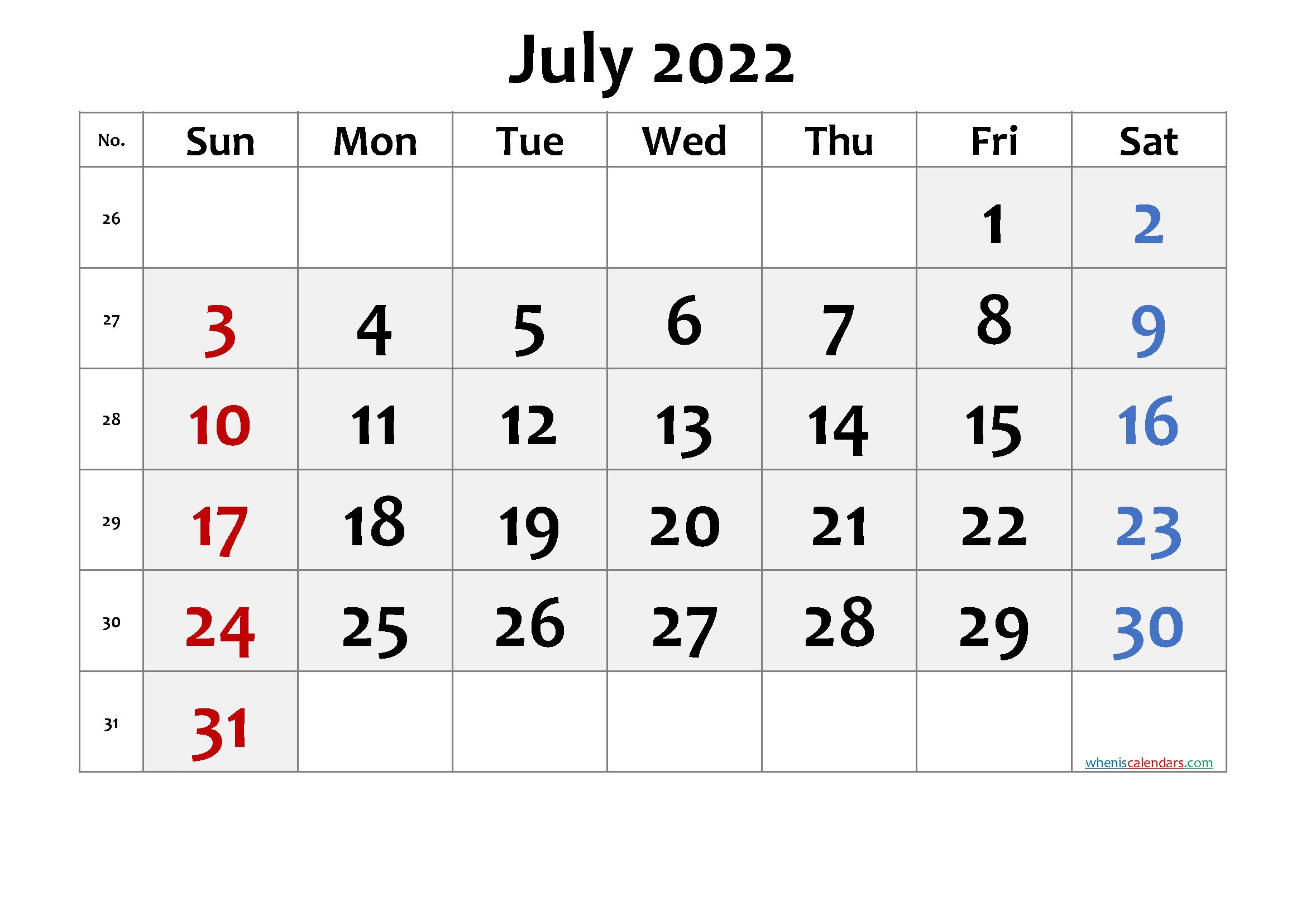 2022 July Free Printable Calendar