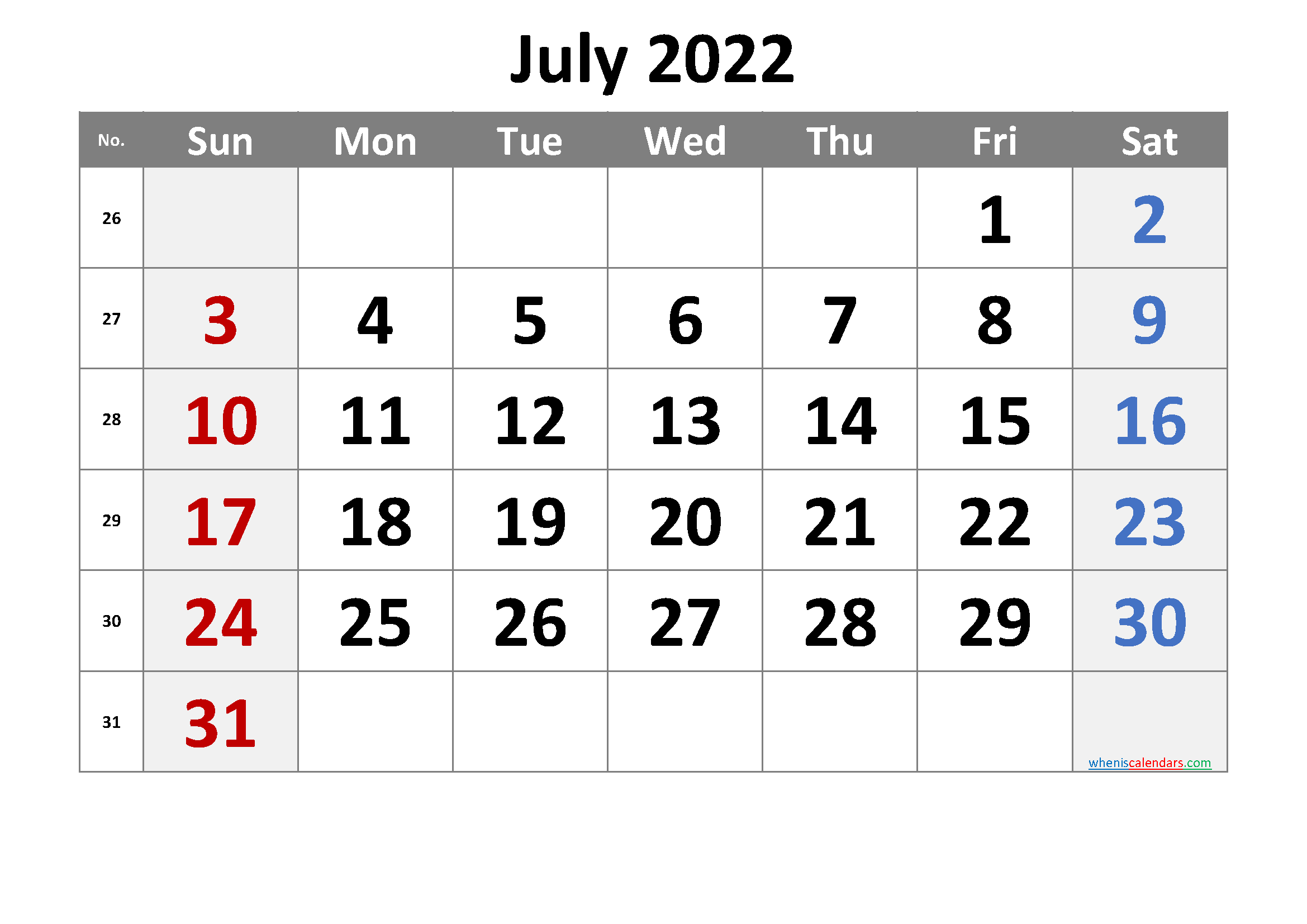 July 2022 Printable Calendar with Week Numbers
