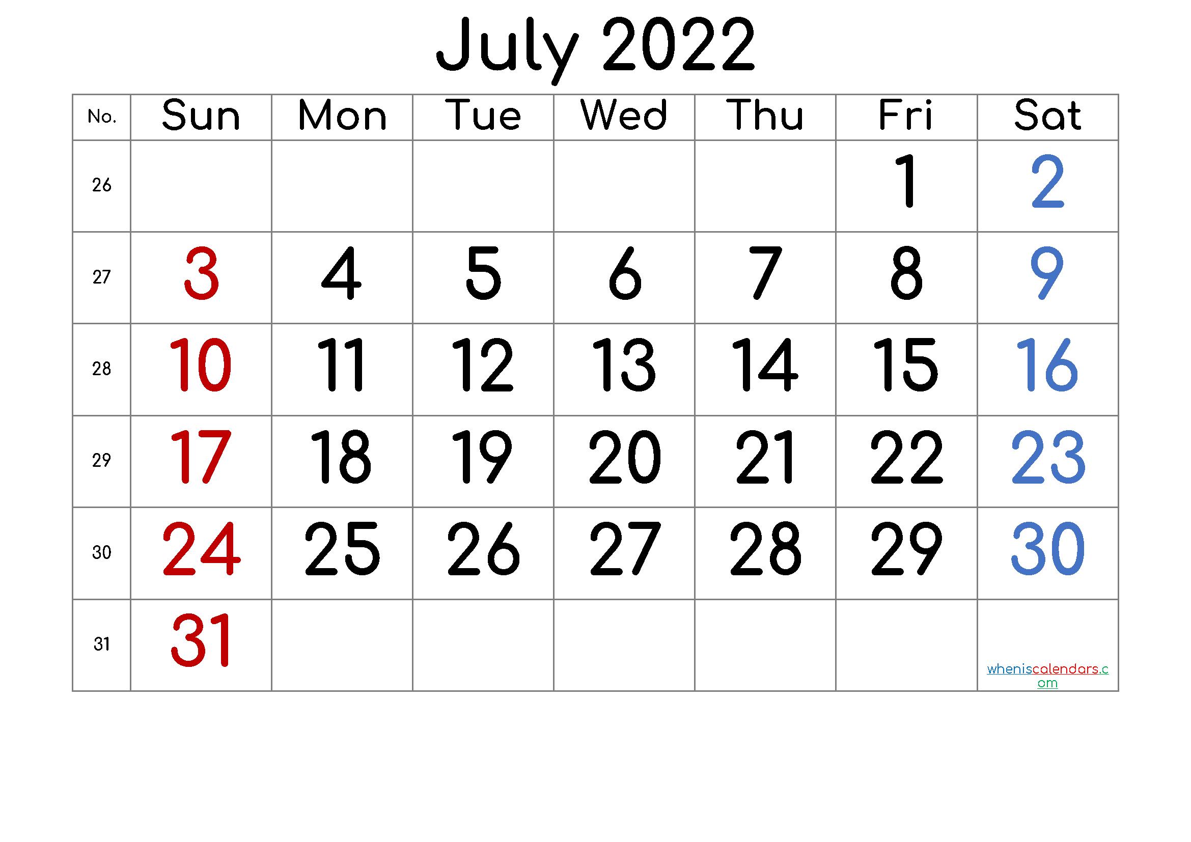 Free Printable 2022 July  Calendar