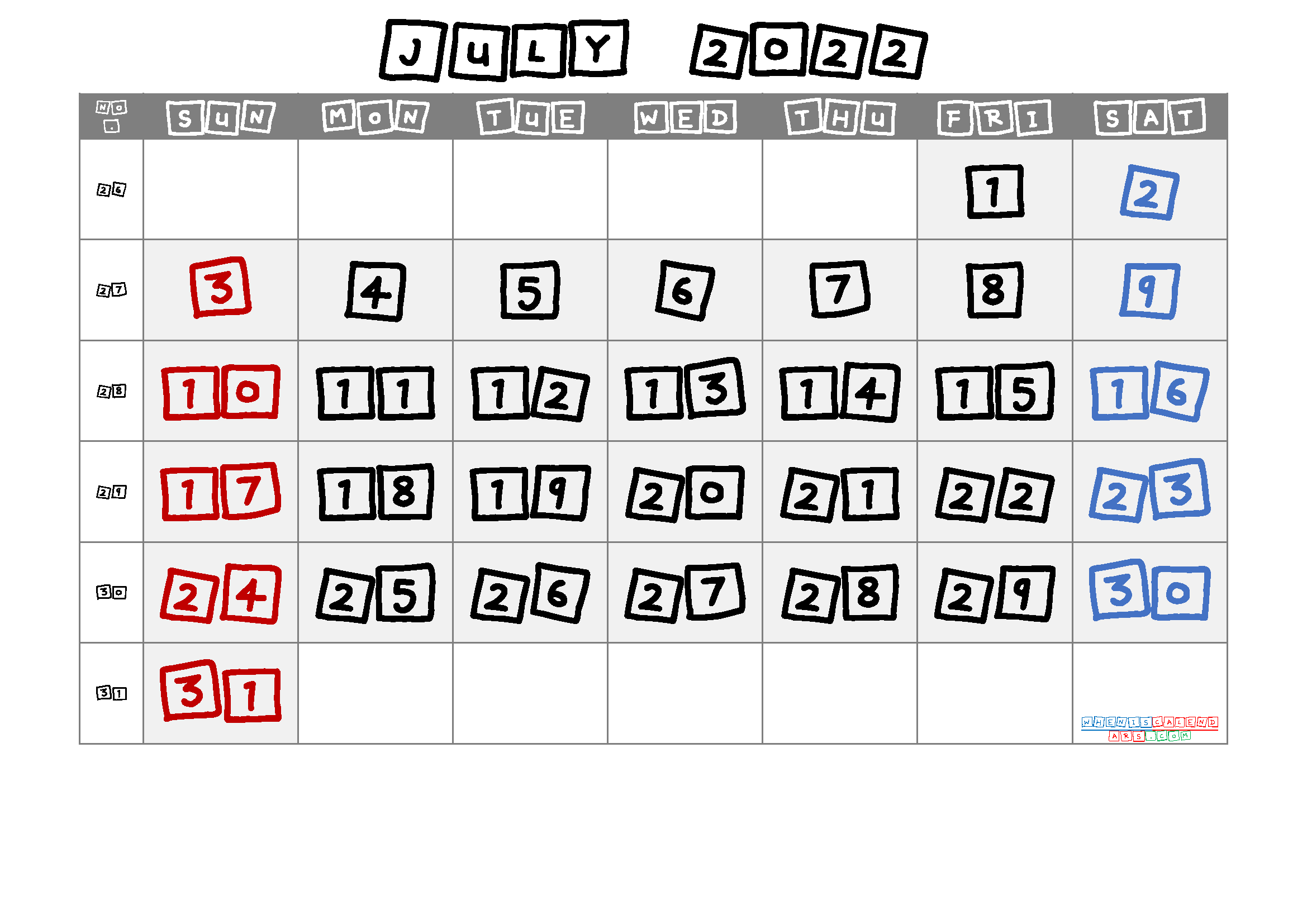 July 2022 Printable Calendar with Week Numbers