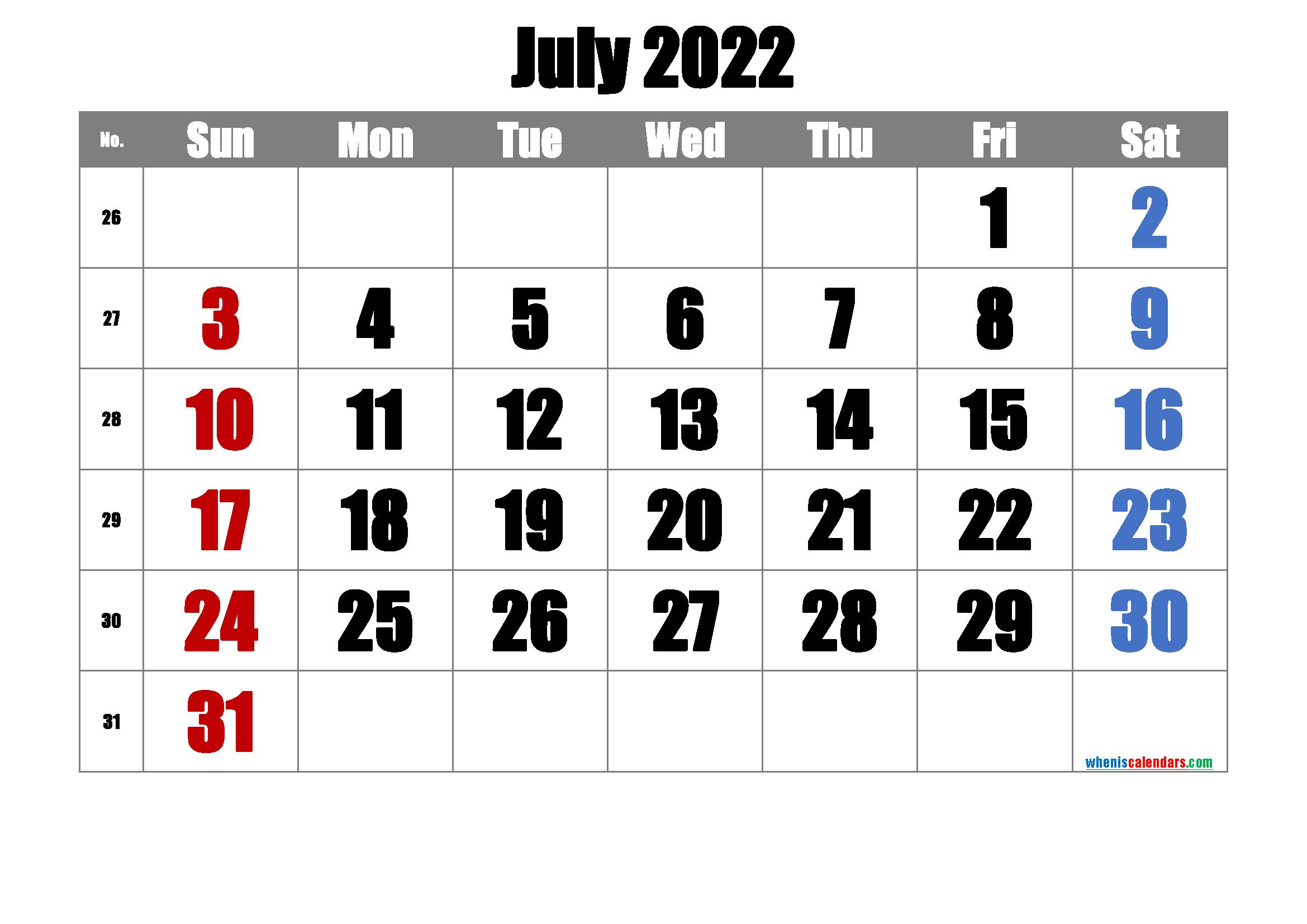 Printable July 2022 Calendar with Week Numbers