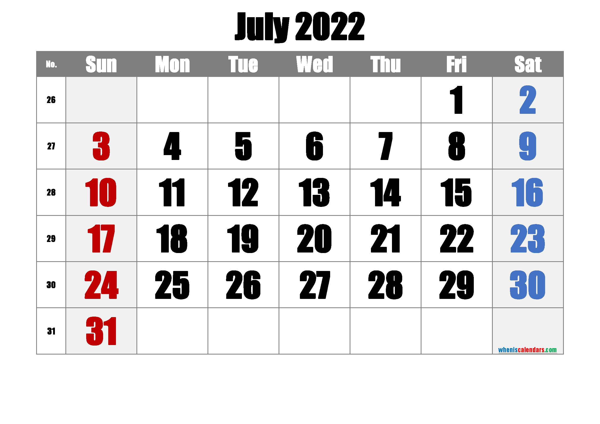 Free July 2022 Calendar with Week Numbers