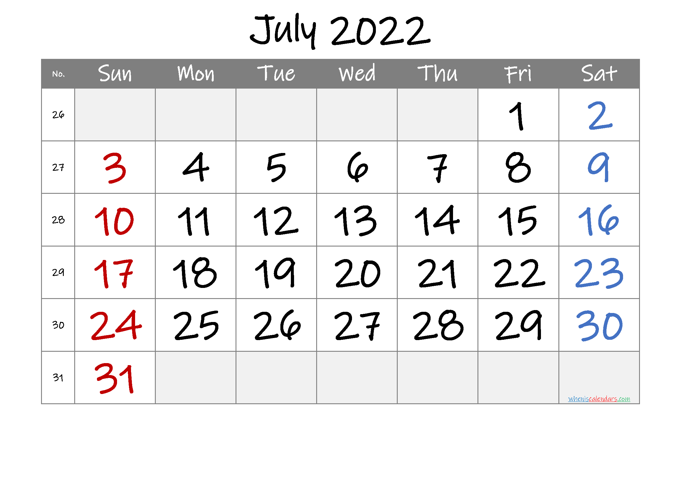 Printable July 2022 Calendar with Week Numbers