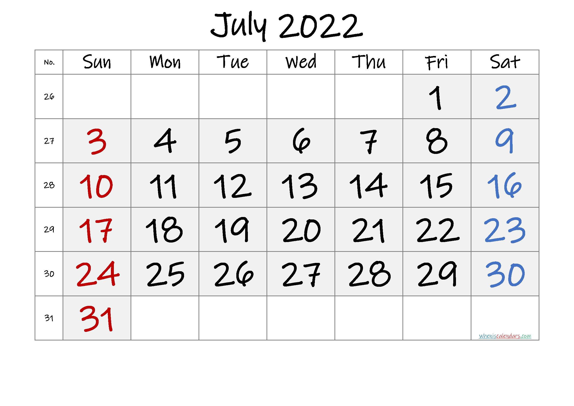 Free Printable July 2022 Calendar with Week Numbers