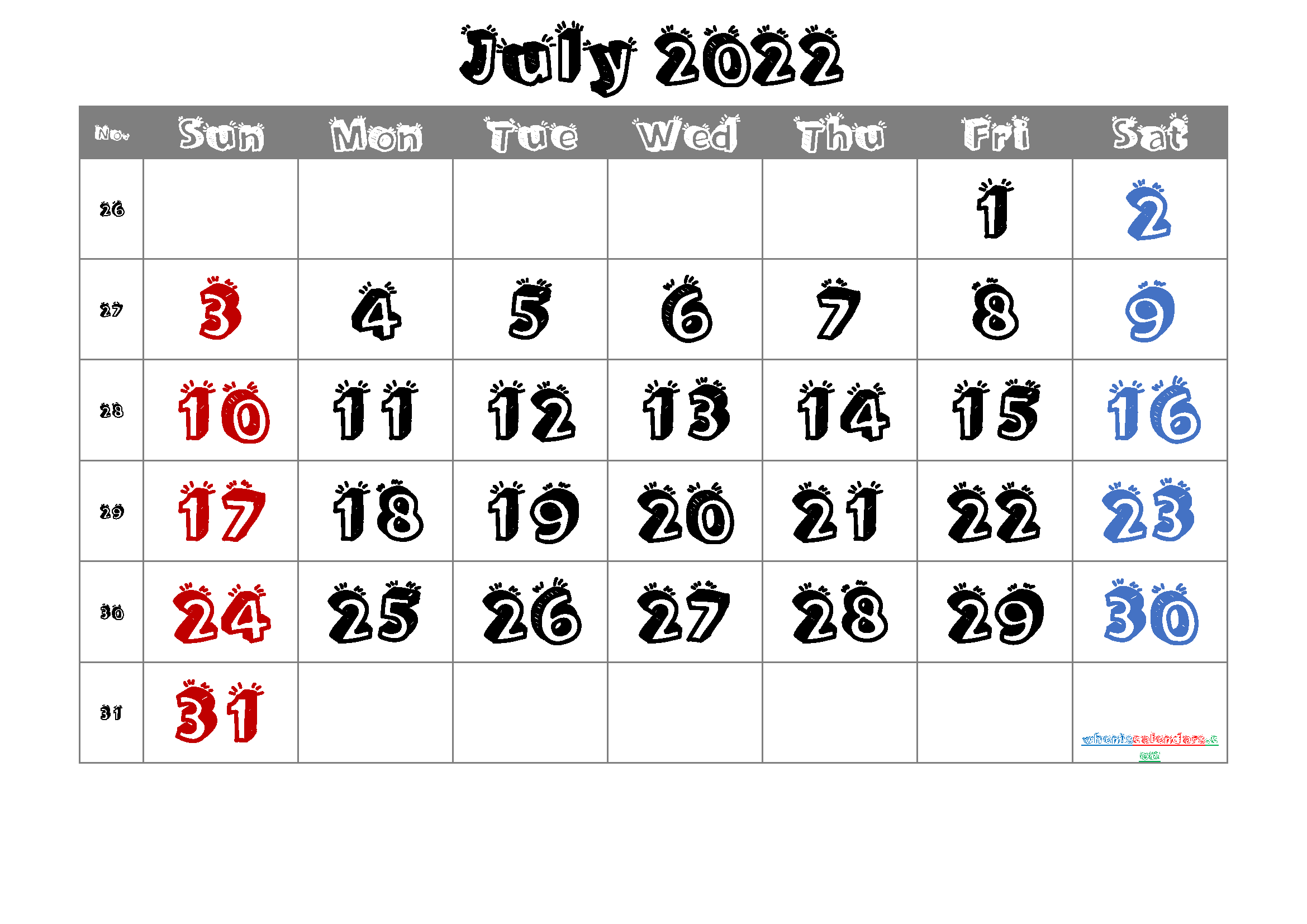 Free Printable July 2022 Calendar with Week Numbers