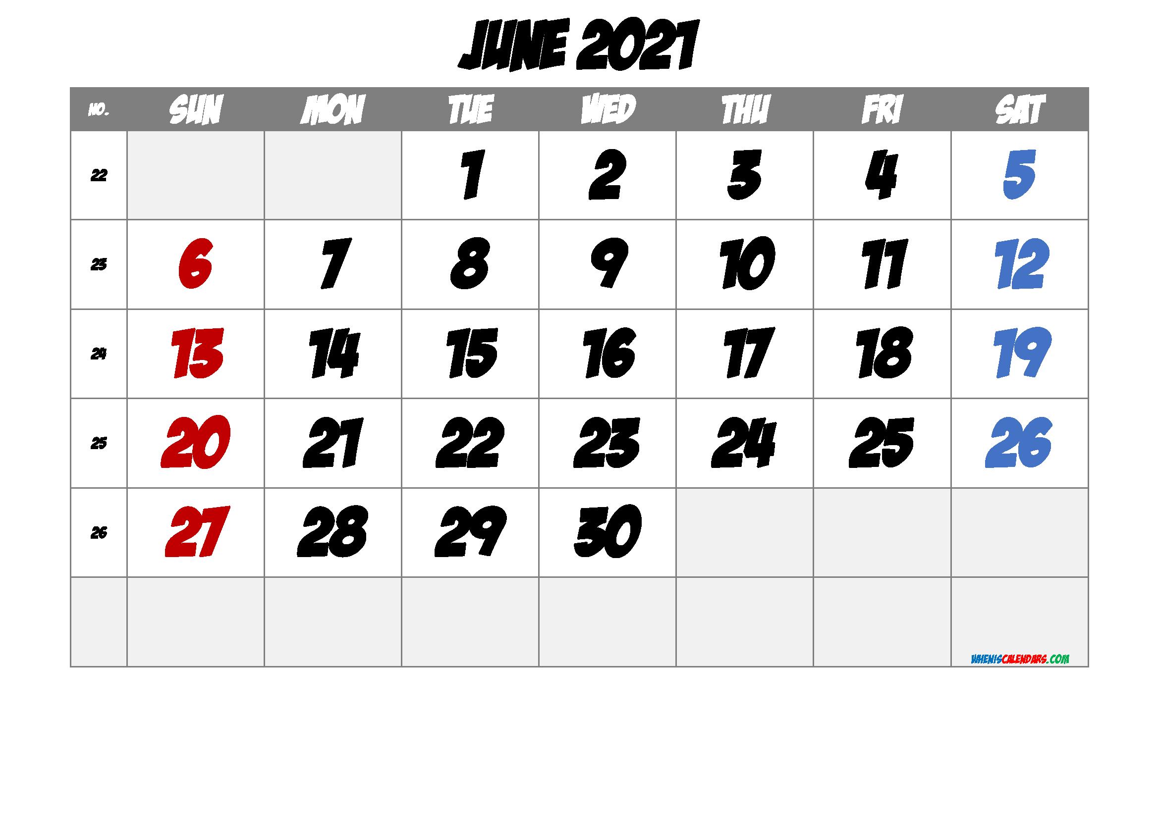 Printable June 2021 Calendar
