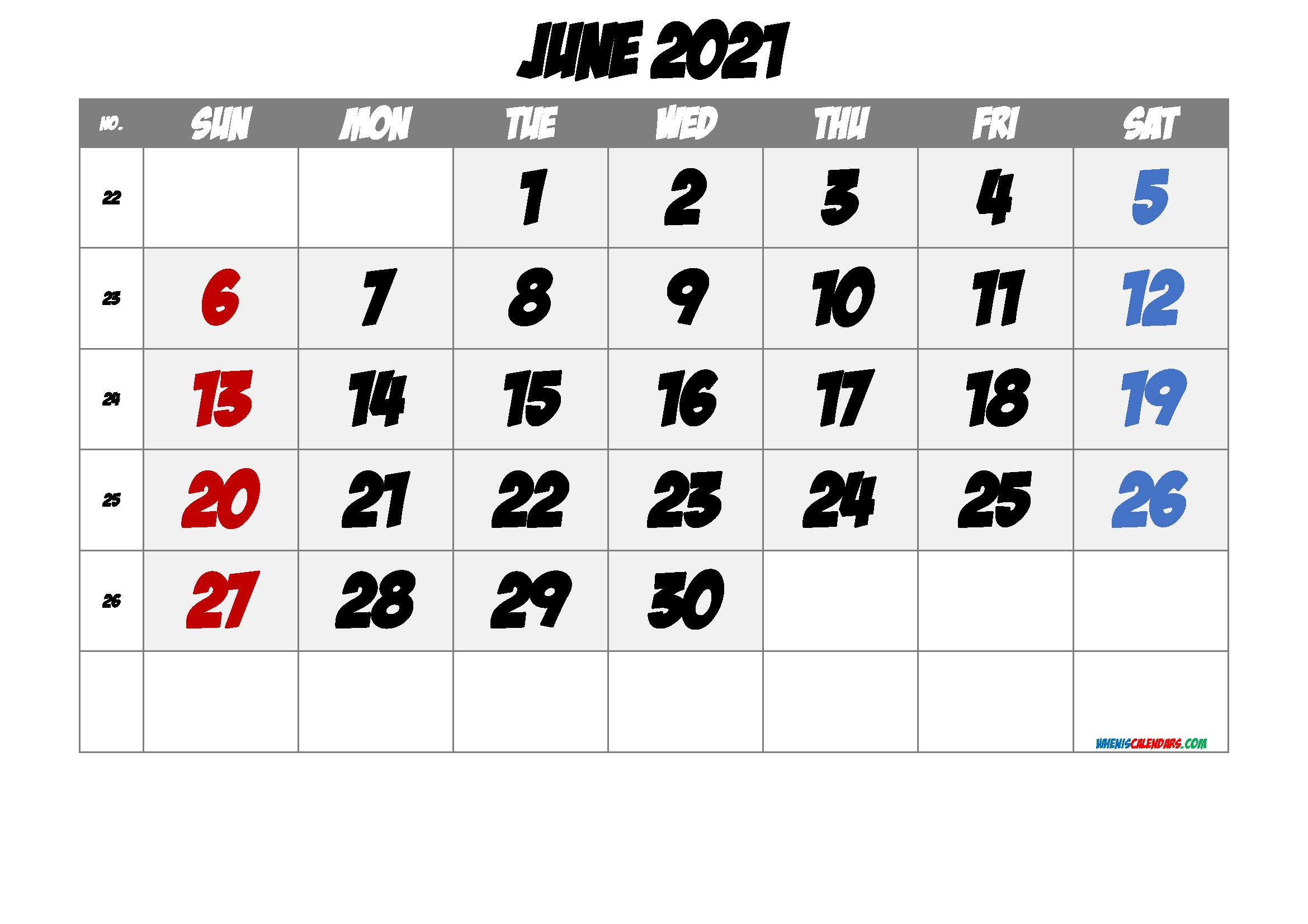 Printable Calendar June 2021