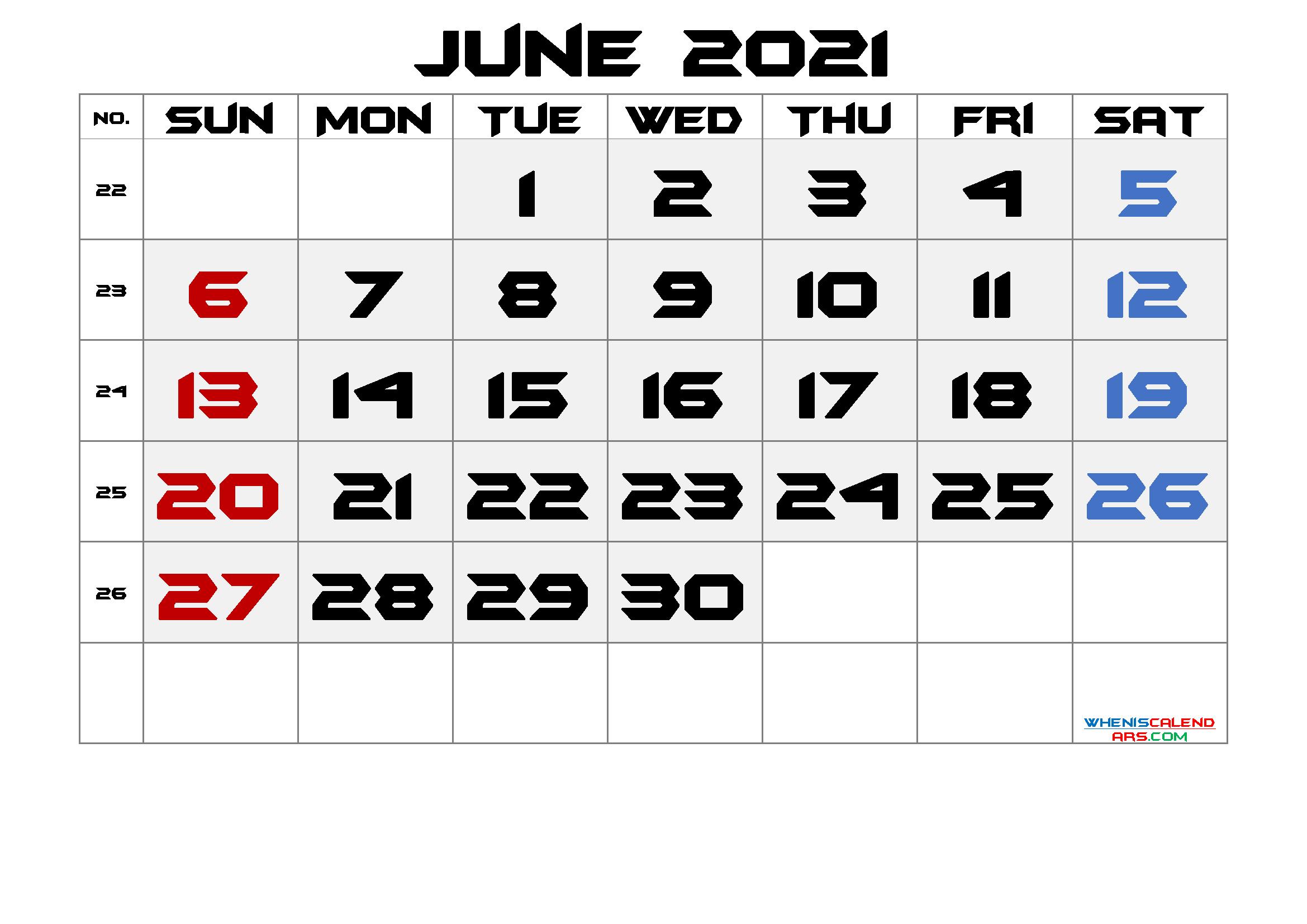 June 2021 Printable Calendar with Week Numbers Free Premium