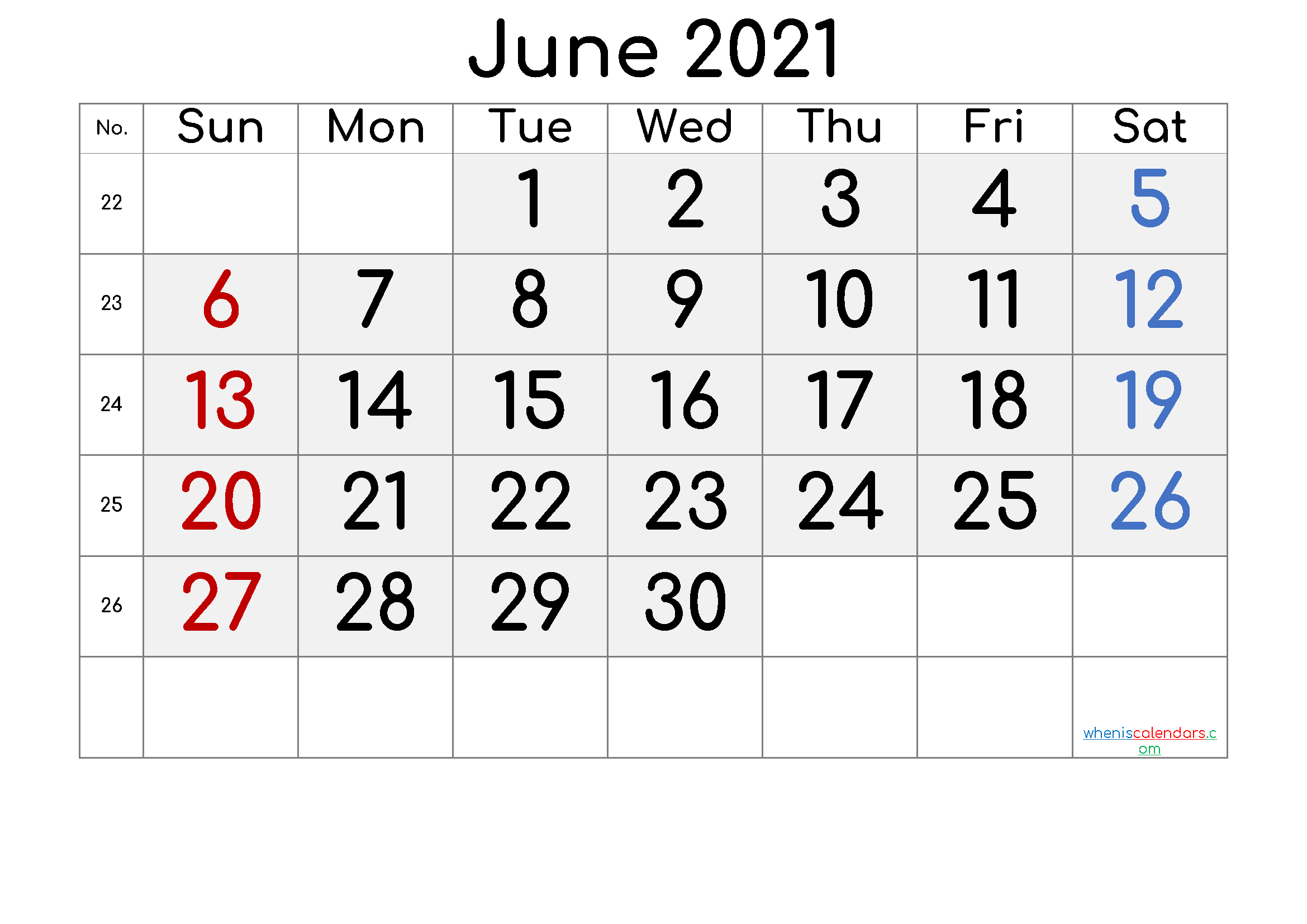 Printable June 2021 Calendar with Week Numbers
