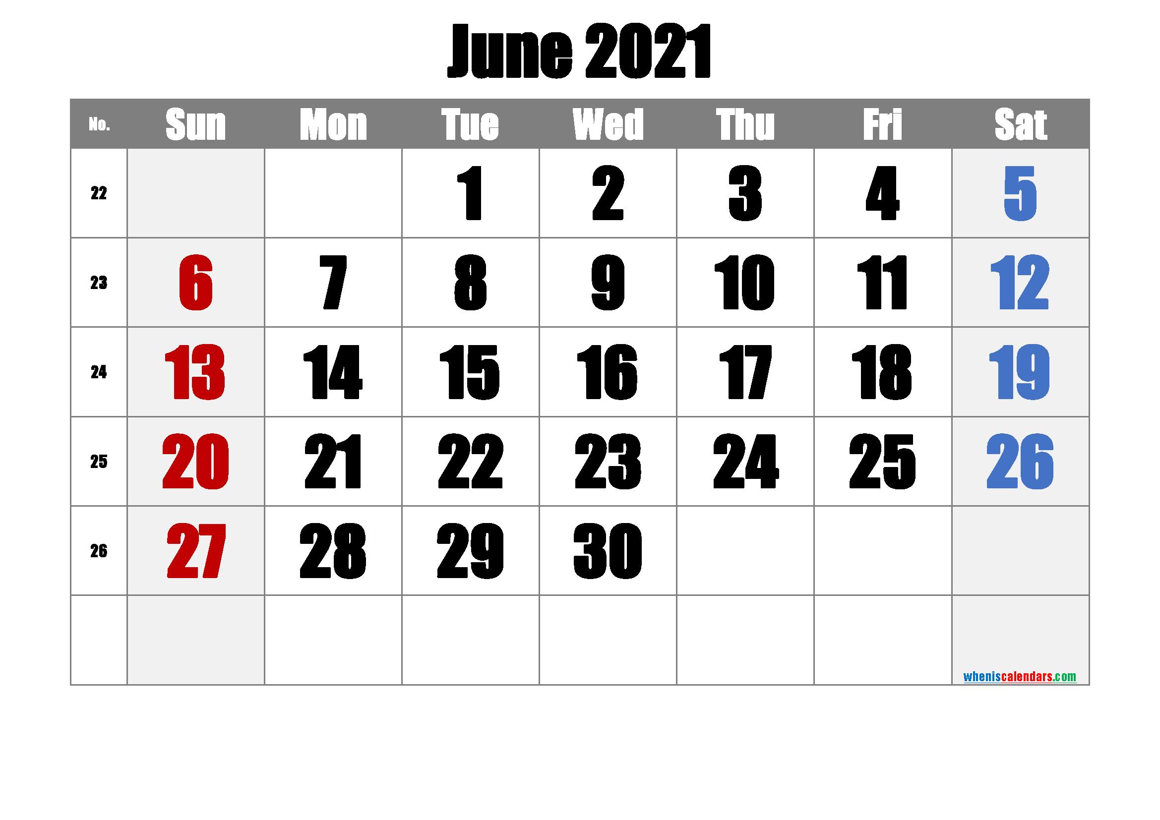 Free June 2021 Calendar
