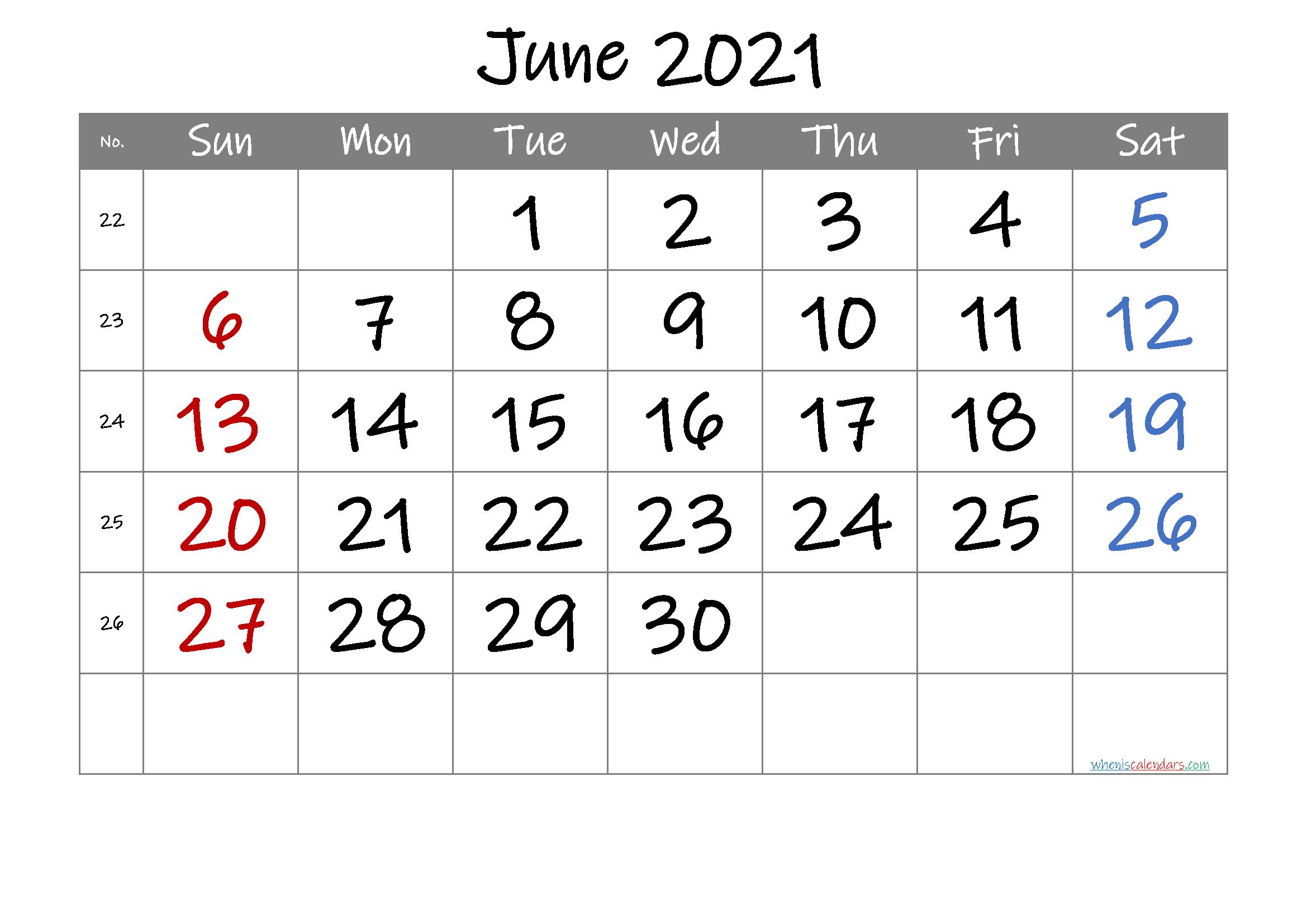 2021 June Free Printable Calendar