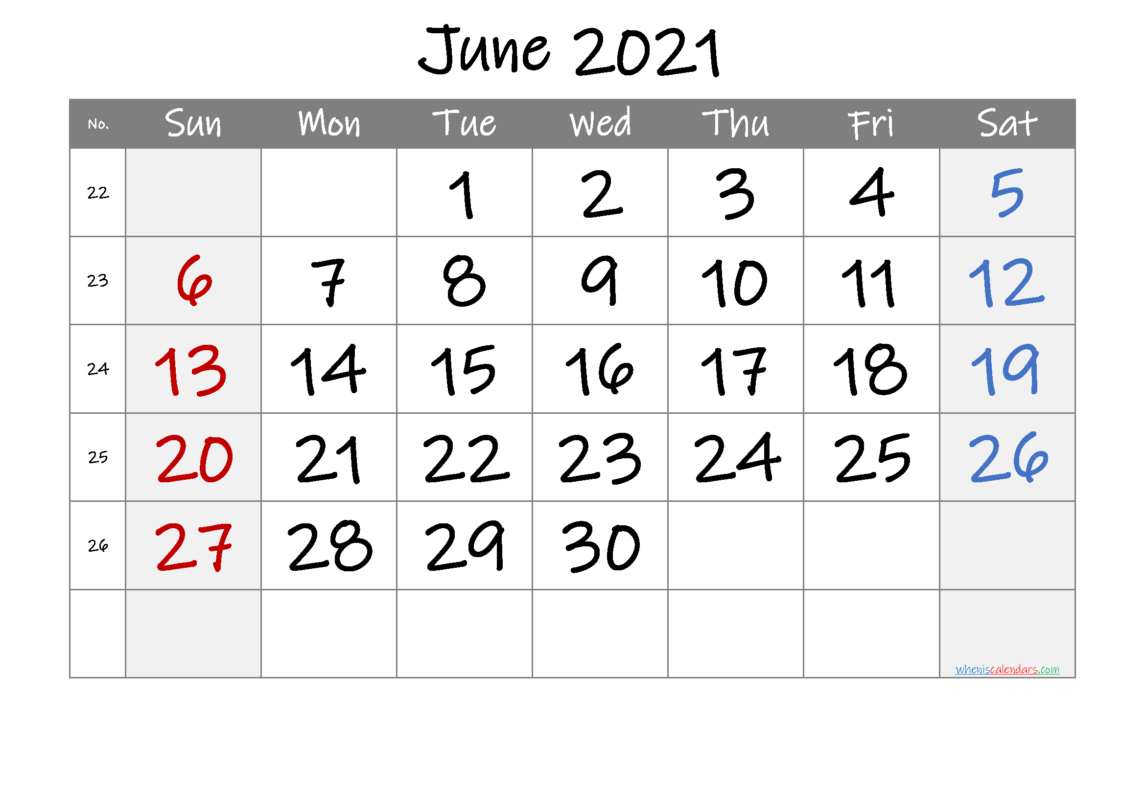 June 2021 Printable Calendar with Week Numbers