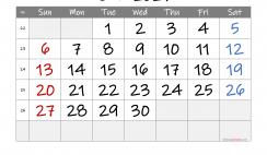 Printable June 2021 Calendar with Week Numbers
