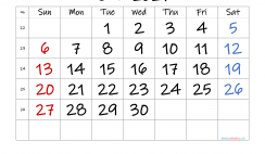 Free June 2021 Calendar with Week Numbers