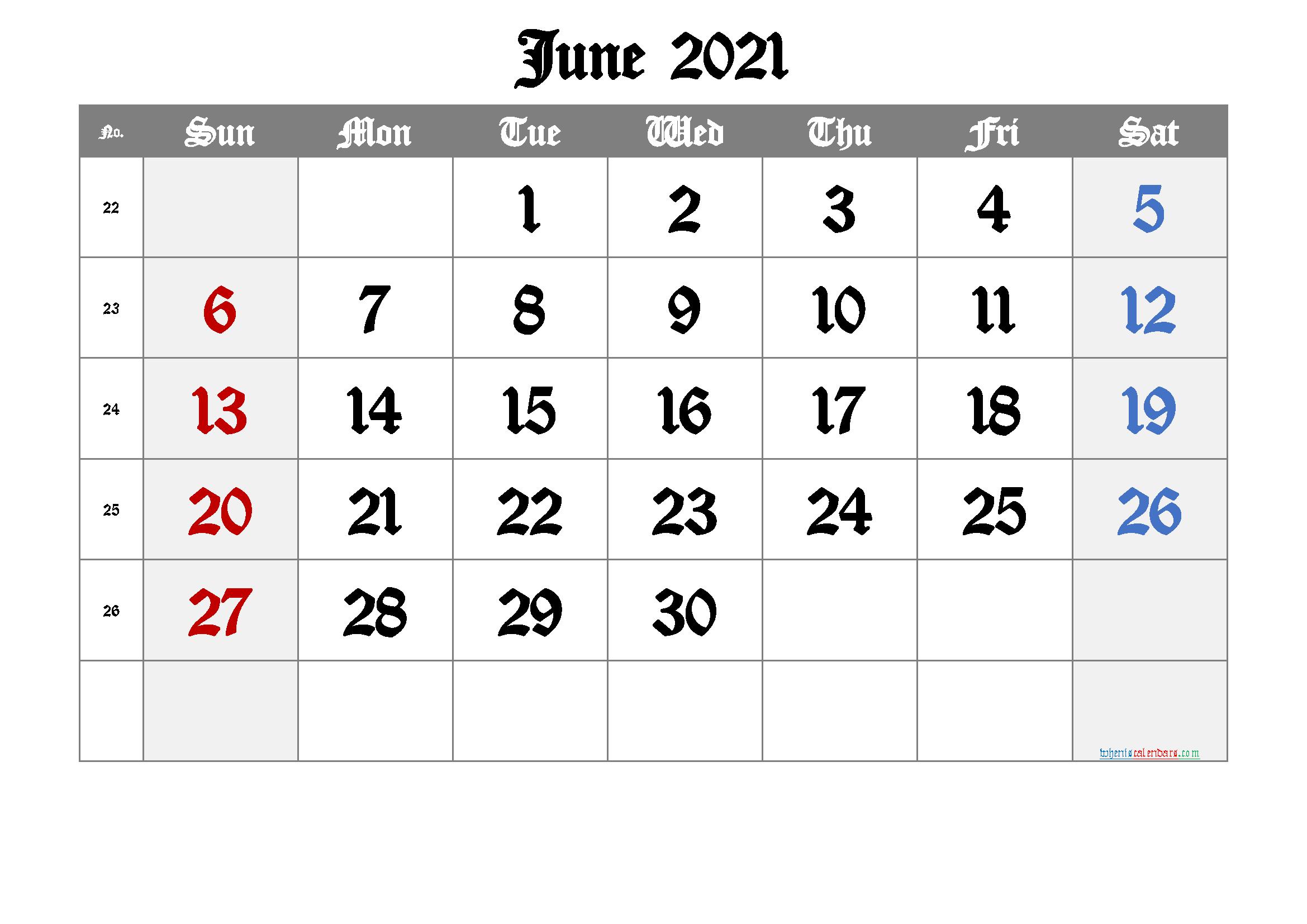 Printable June 2021 Calendar - 6 Templates