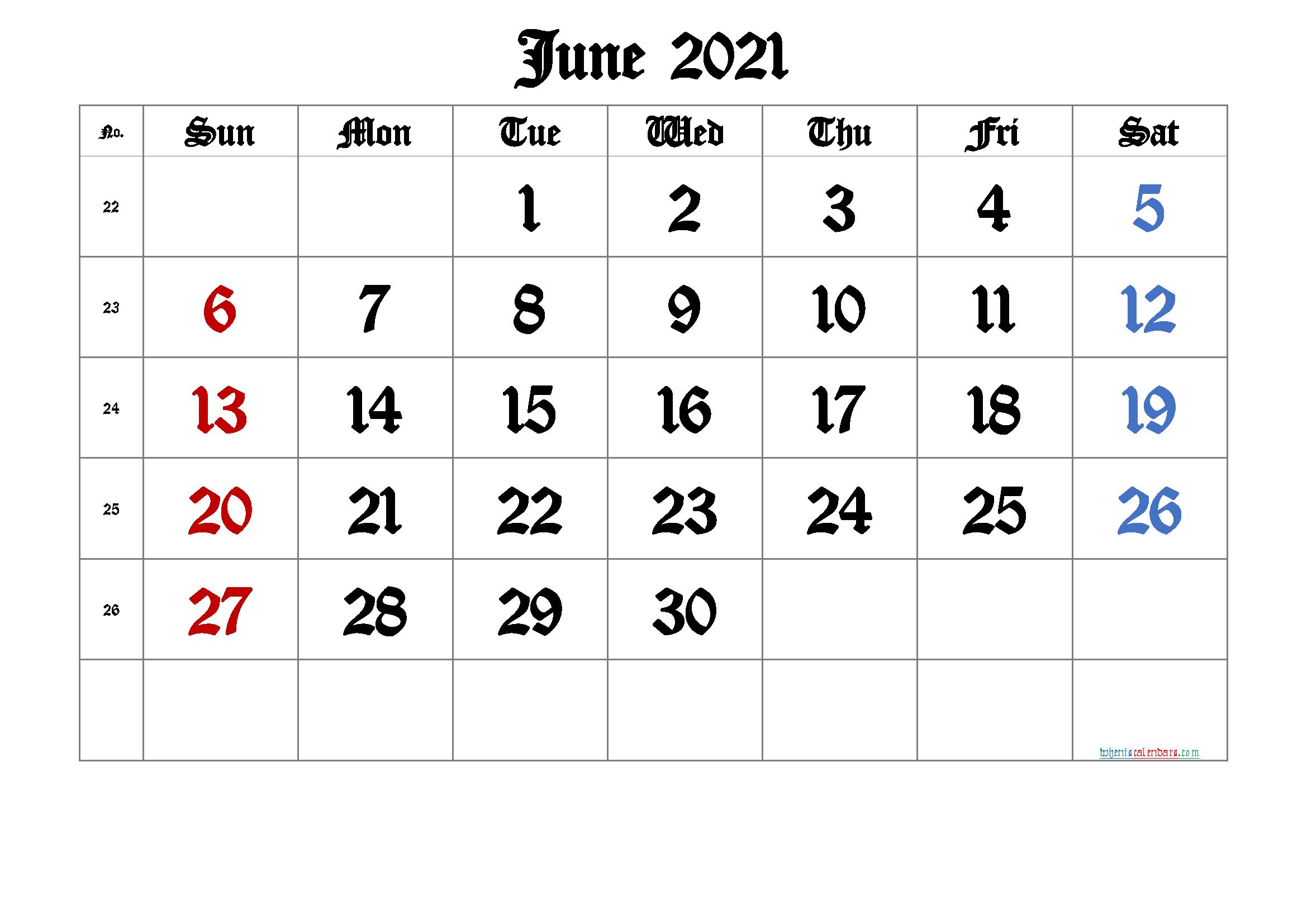 June 2021 Printable Calendar with Week Numbers