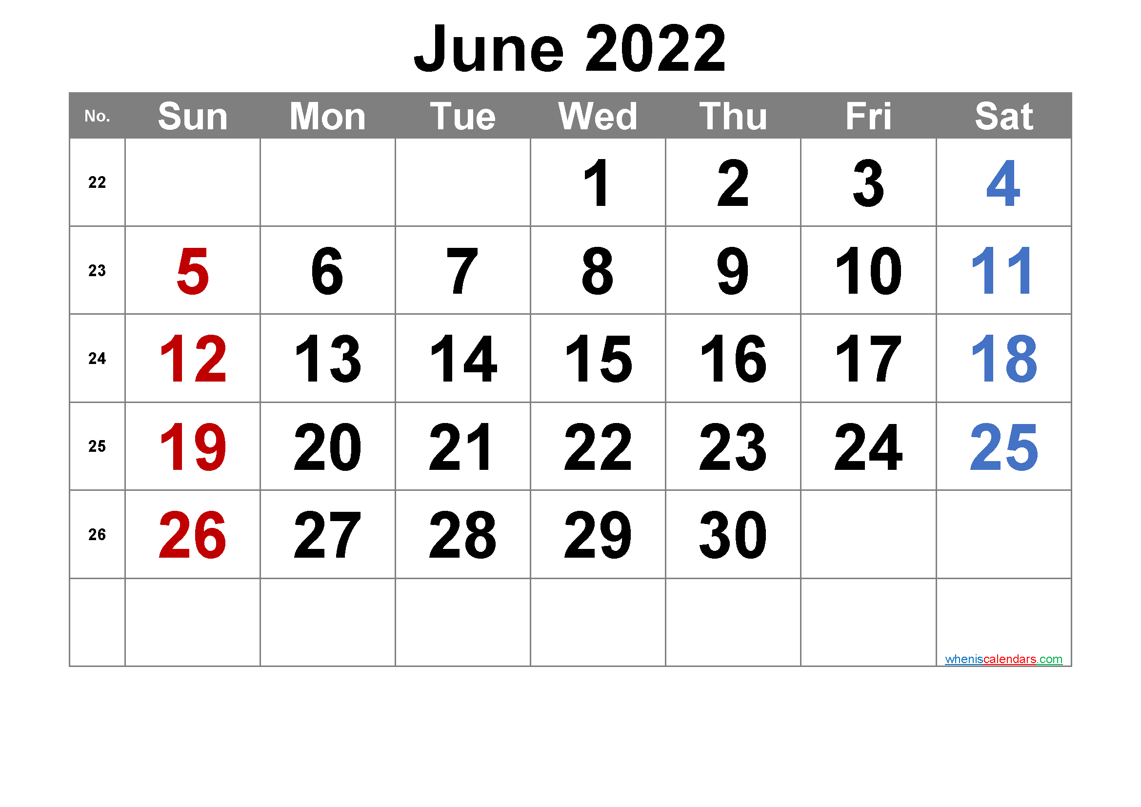 Printable June 2022 Calendar with Week Numbers