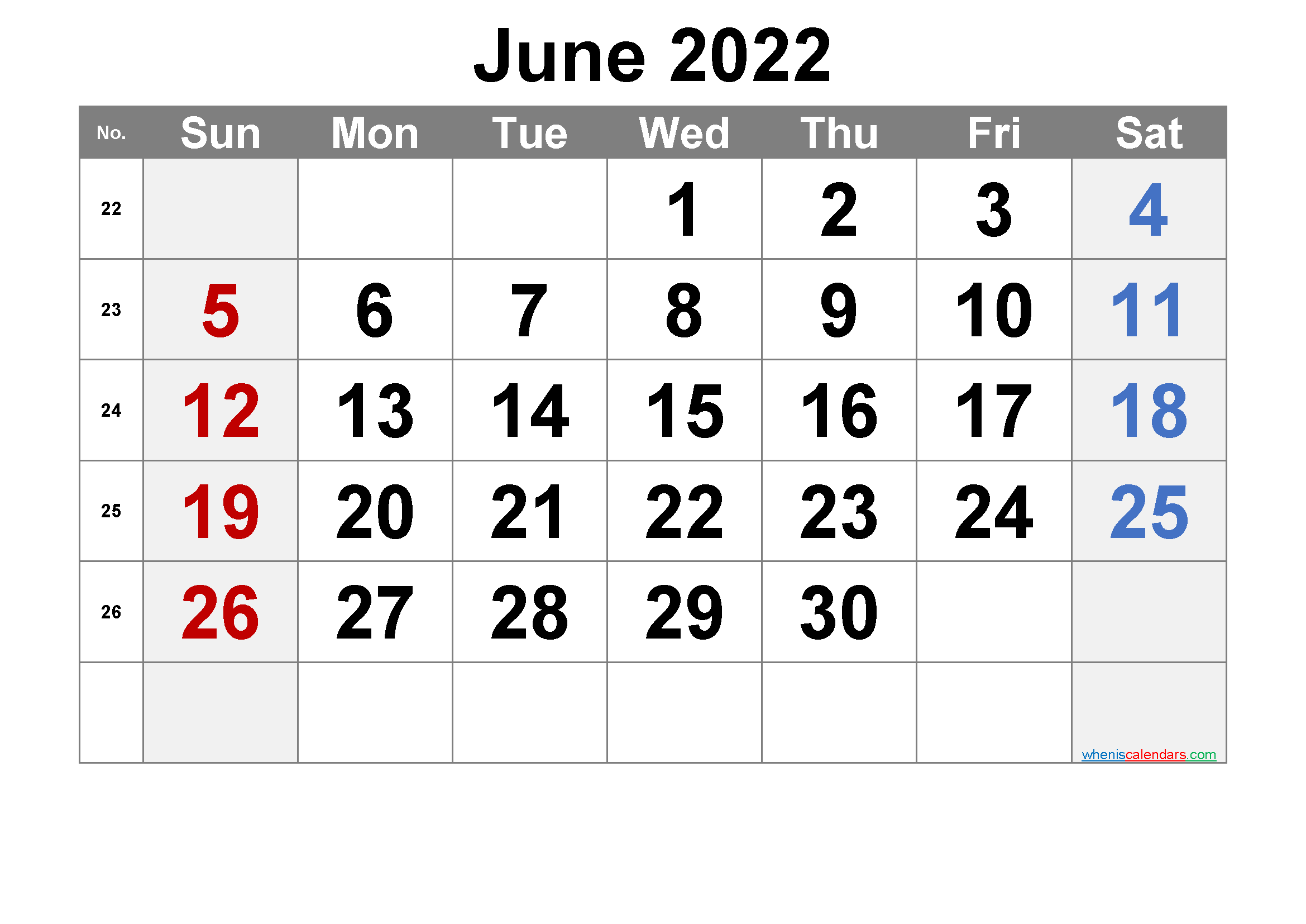 Free June 2022 Calendar