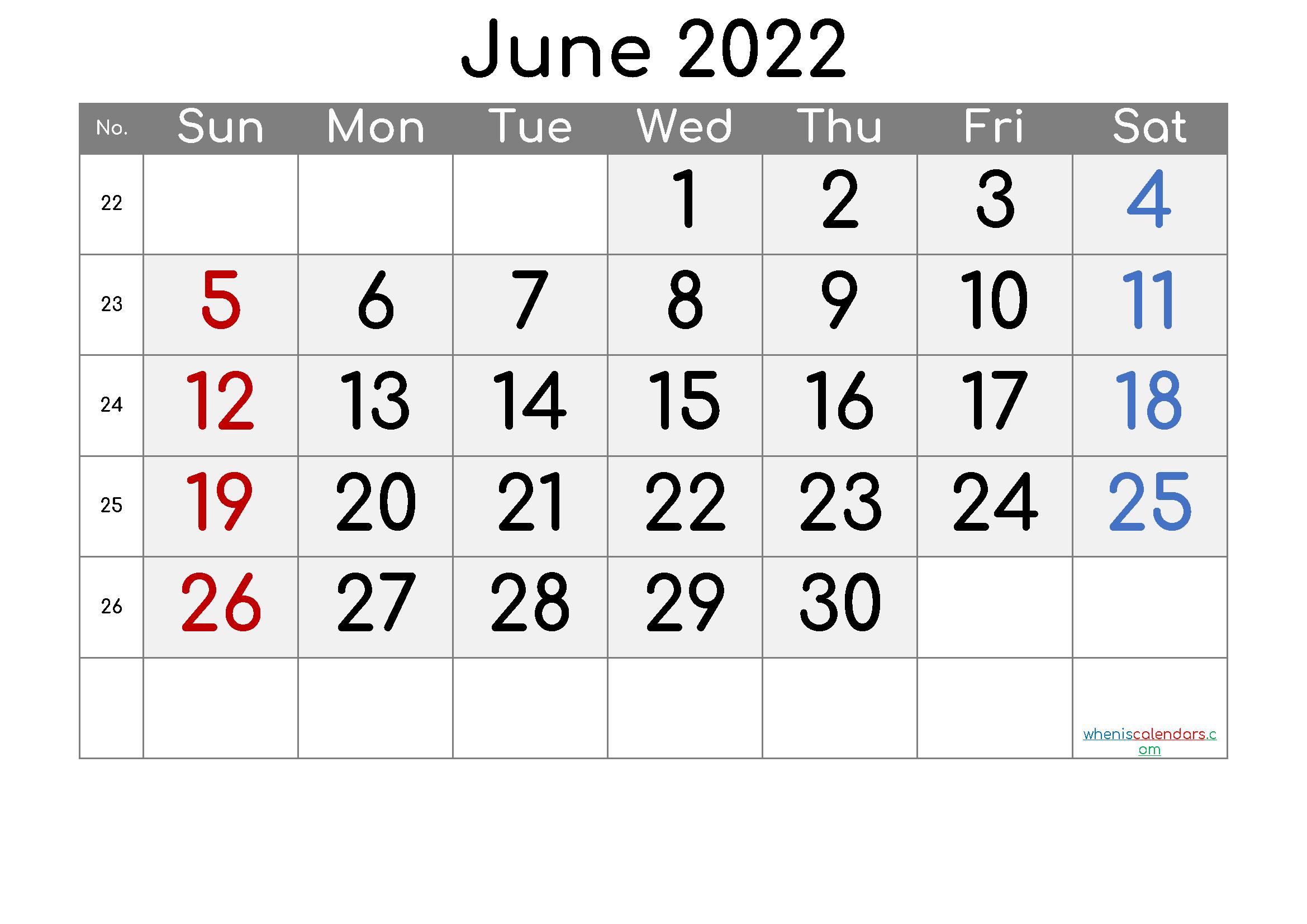 Free June 2022 Calendar with Week Numbers