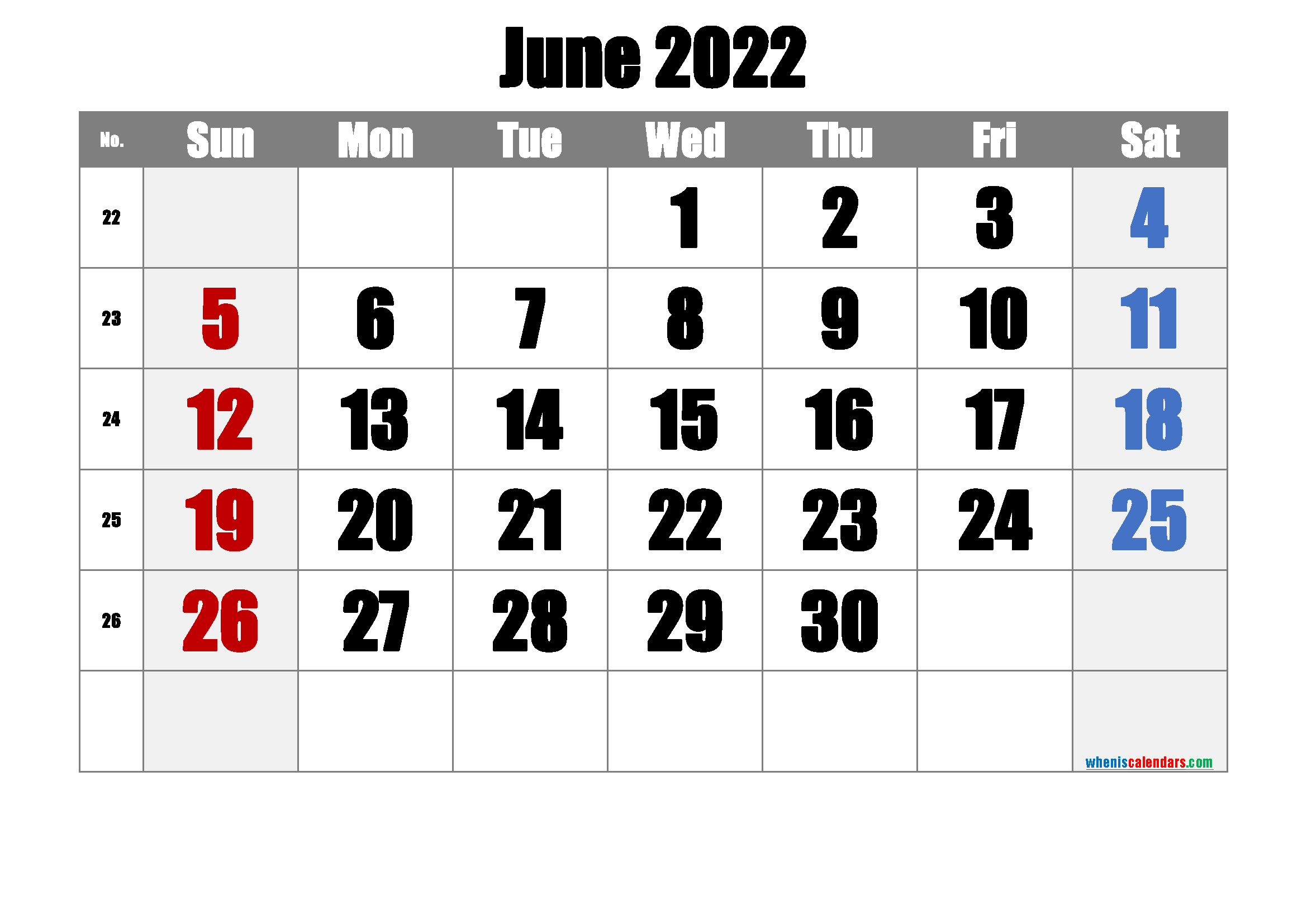 Free June 2022 Calendar with Week Numbers