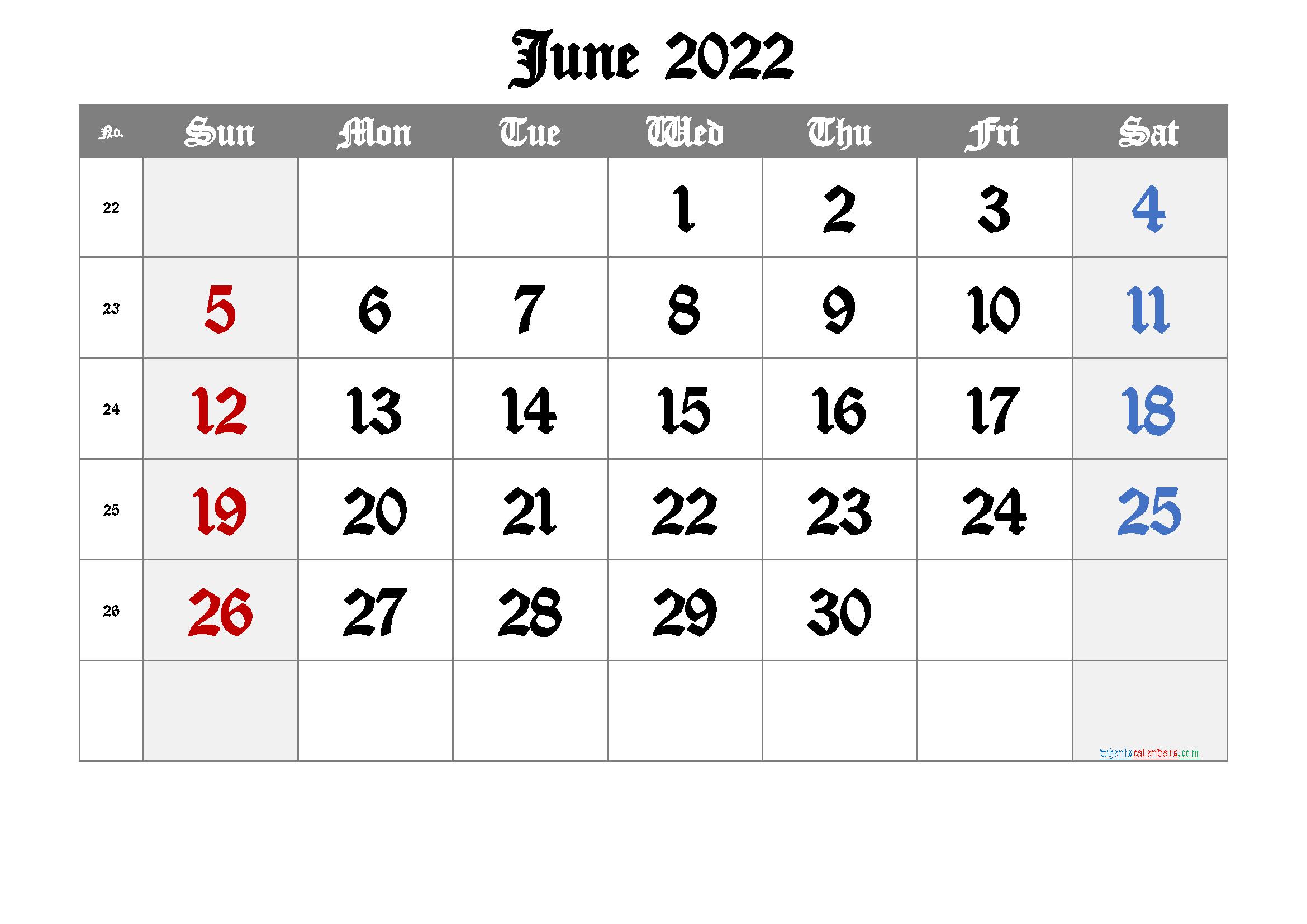 Free Printable Calendar 2022 June