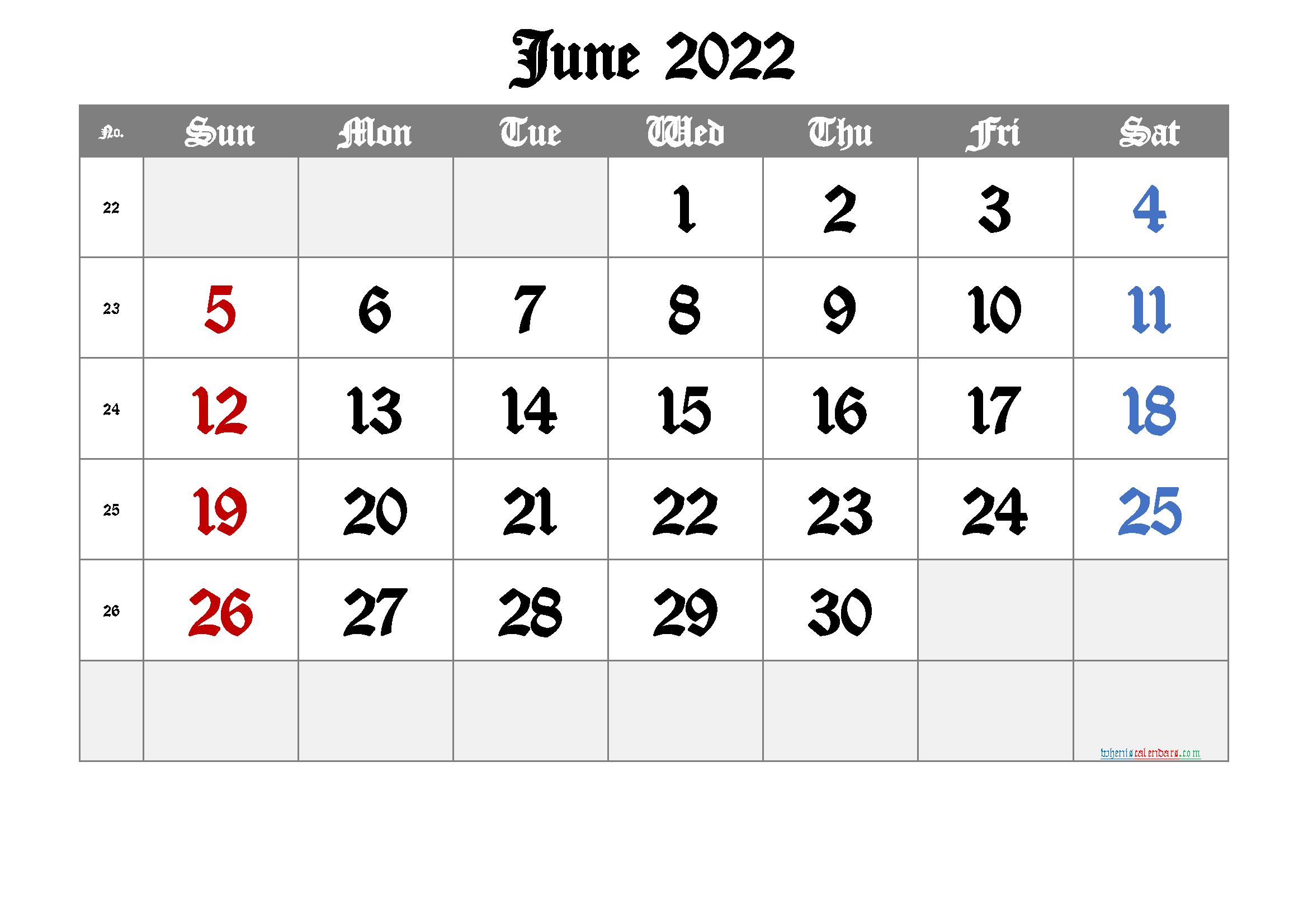 2022 June Free Printable Calendar