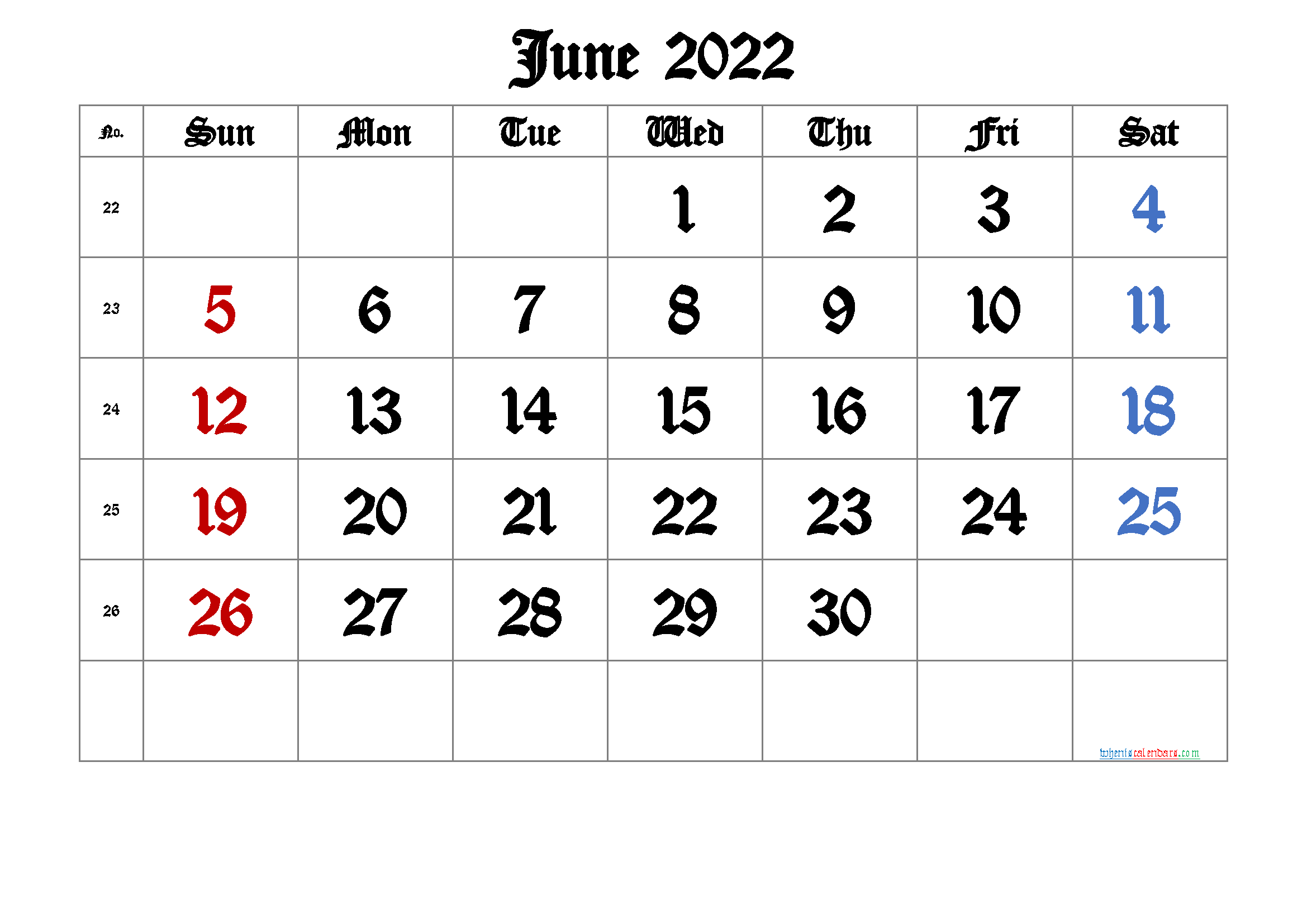 June 2022 Printable Calendar with Week Numbers