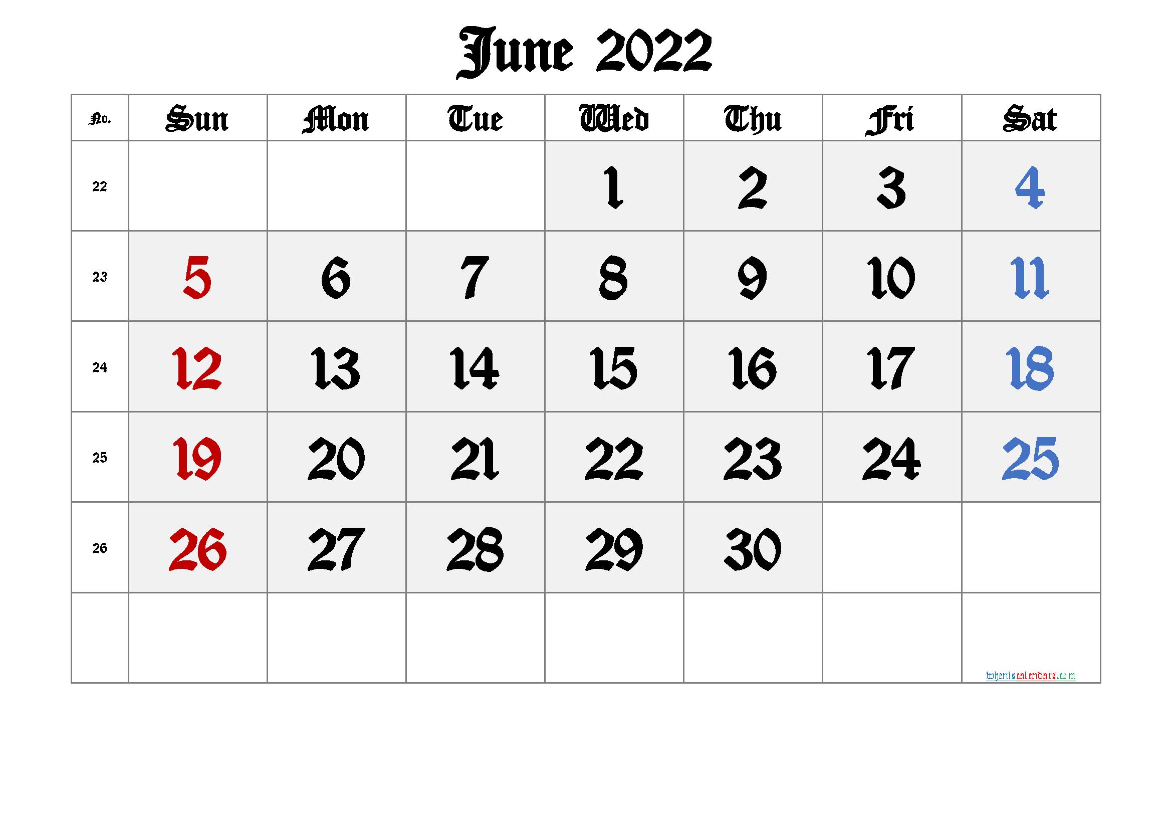 Printable June 2022 Calendar with Week Numbers
