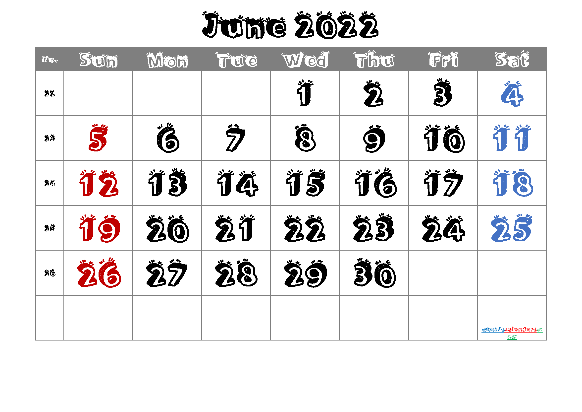 Free Printable June 2022 Calendar with Week Numbers